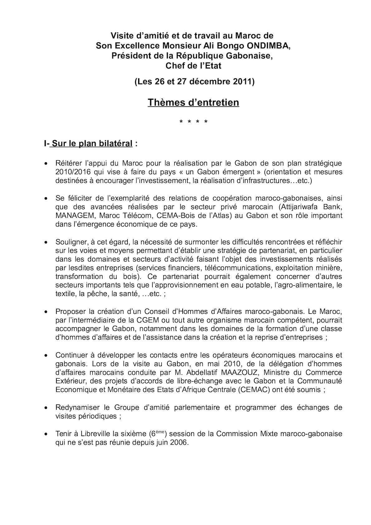 Thèmes D'entretien, Gabon Décembre 2011