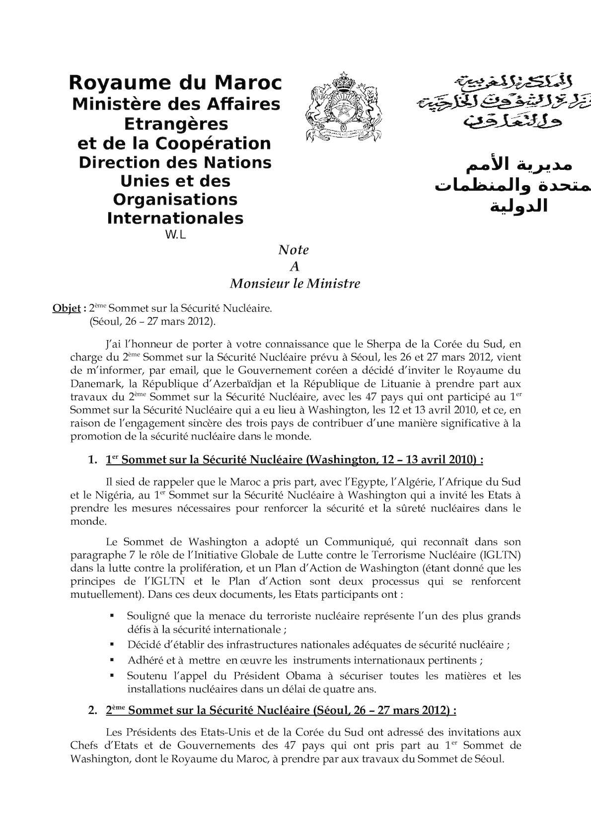 Note à M Le Ministre - Invitation Du Maroc Au NSS