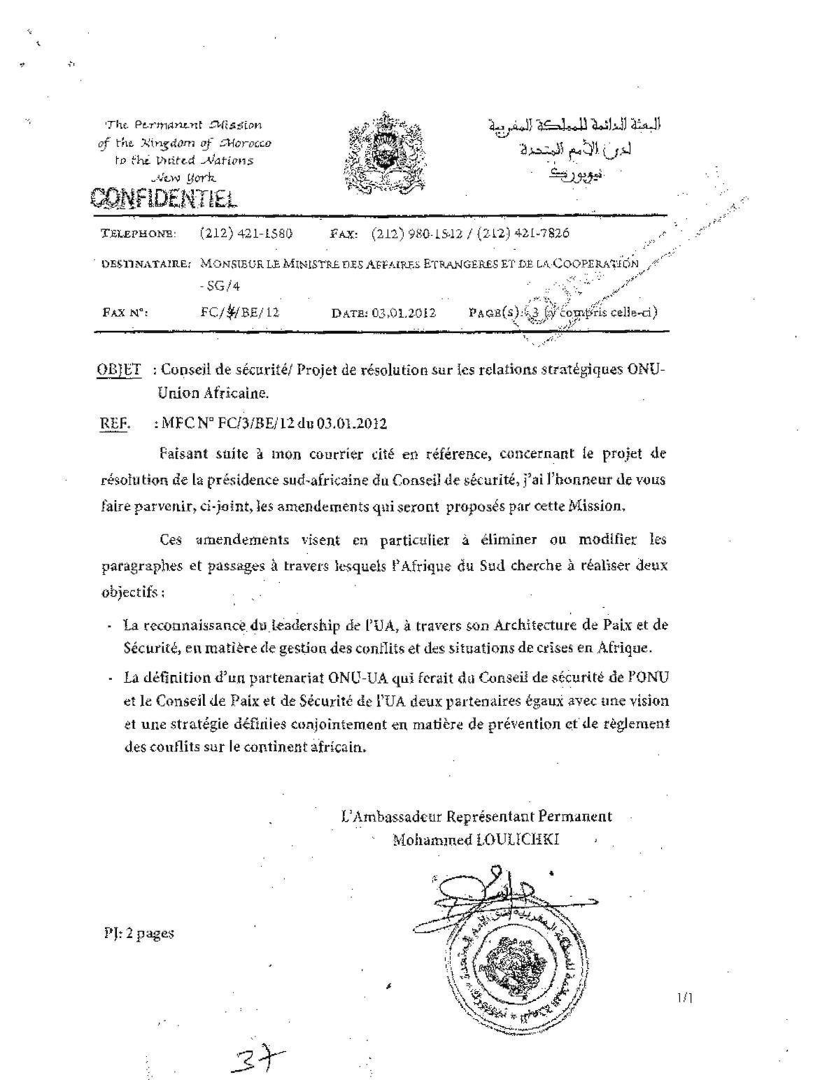 New York- Conseil De Sécurité Projet De Résolution Sur Les Relations Stratégiques ONU Union Africaine