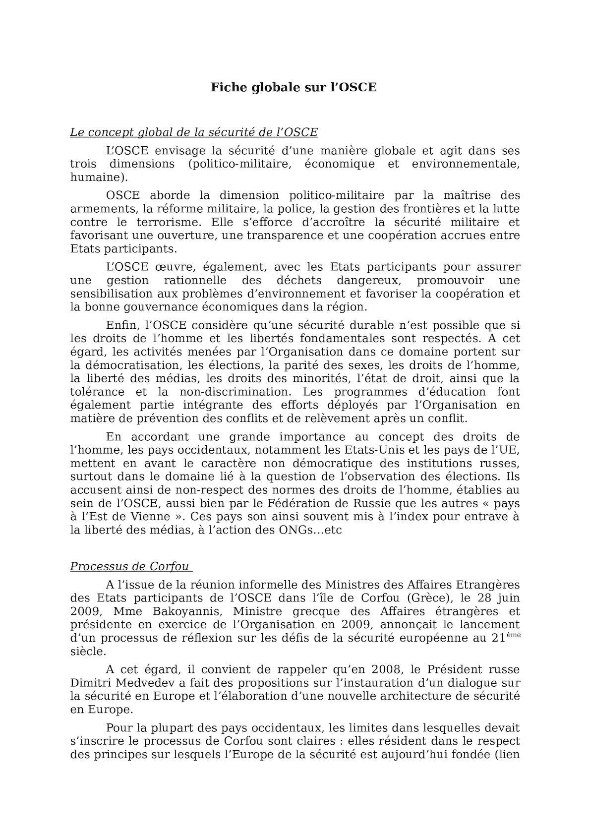 Fiche Globale Sur L'OSCE