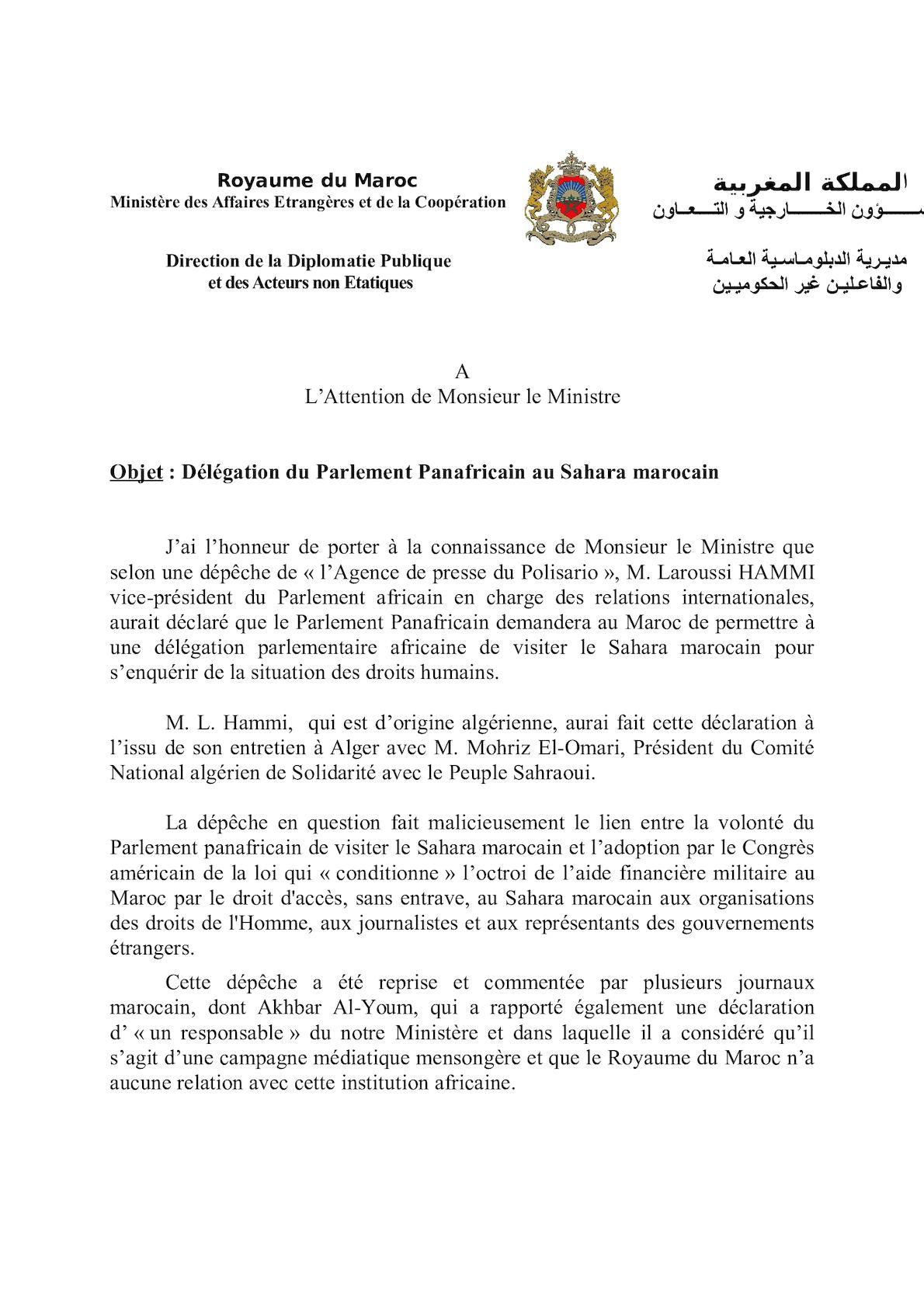 Note Parlement Panafricain Sahara Et Fiche