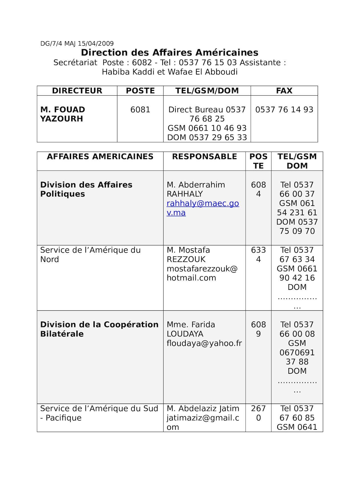 Direction Des Affaires Américaines Dg74