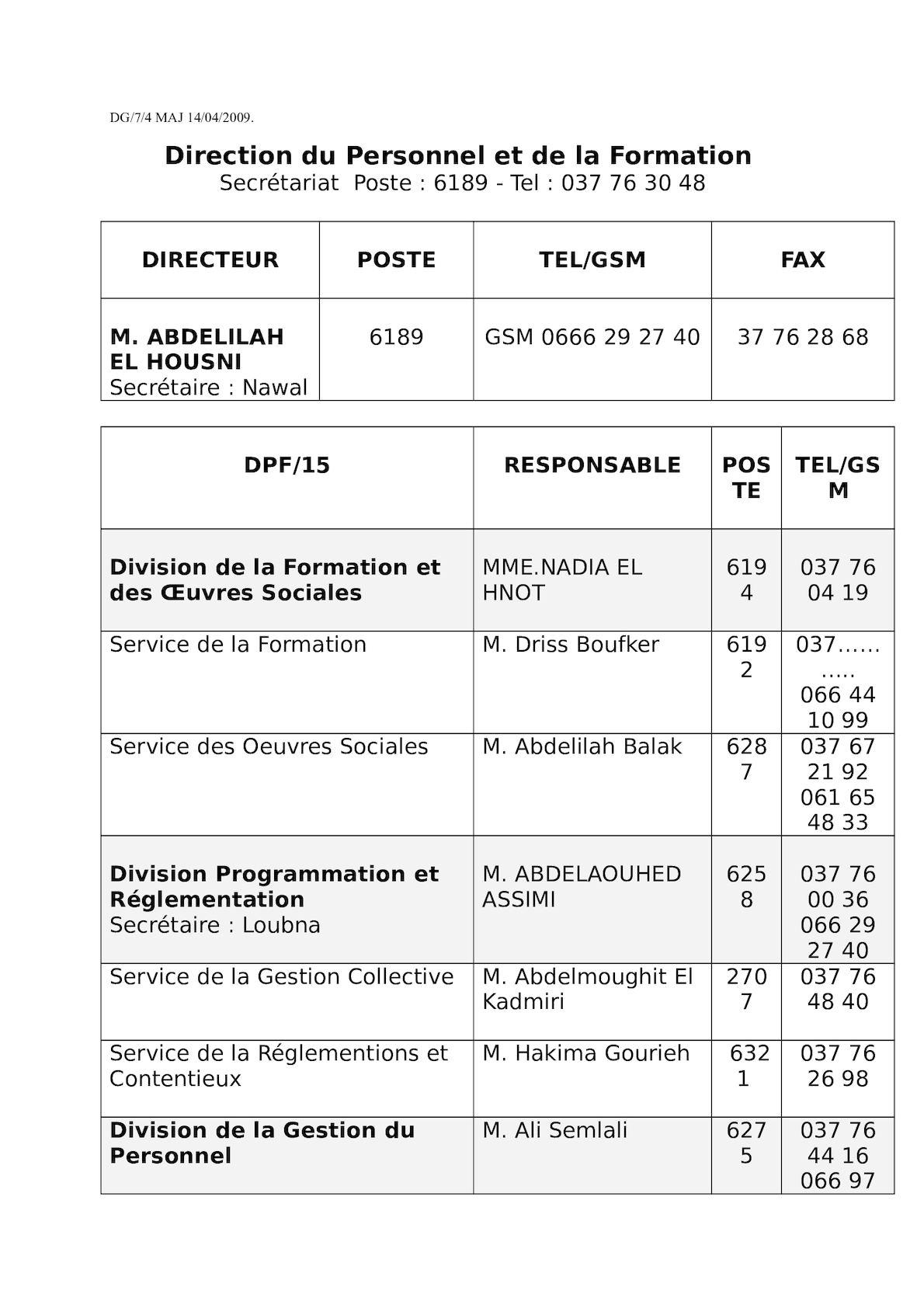 Direction Du Personnel Et De La Formation DPF15