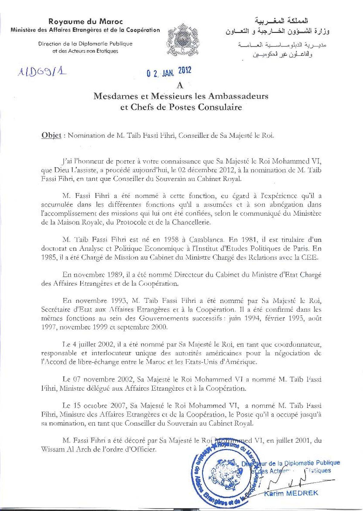 1 Nomination De M Taïb Fassi Fihri, Conseiller De Sa Majesté Le Roi