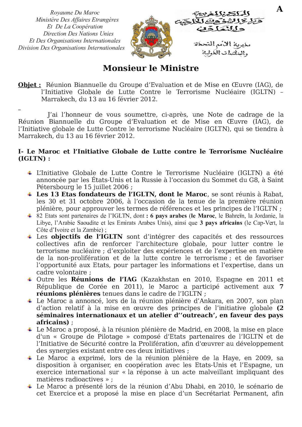 Note à M. Le Ministre - Marrakech Meeting - Final Version