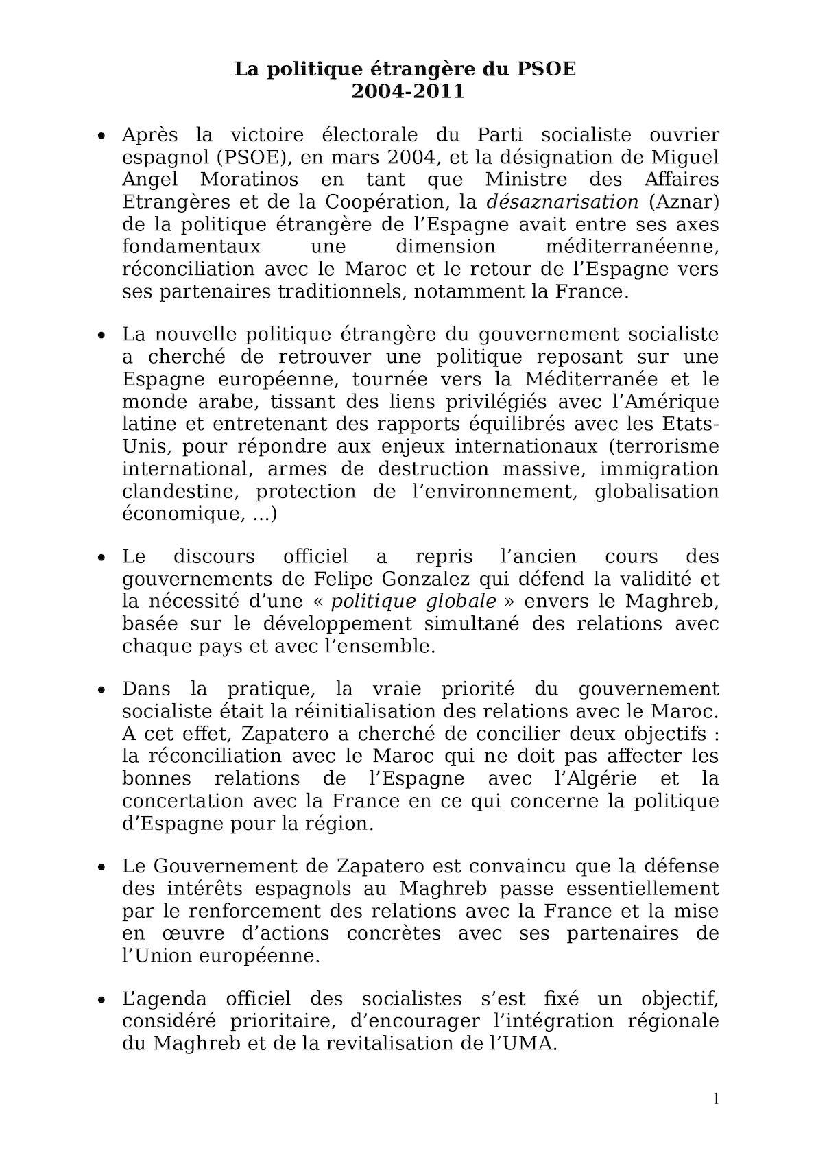 La Politique étrangère Du PSOE (1).