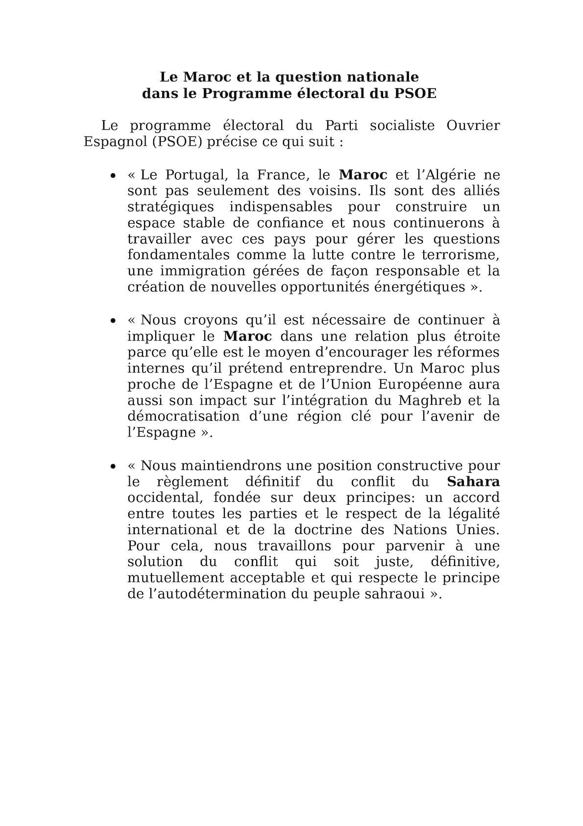 Le Maroc Et La Question Nationale Programme PSOE