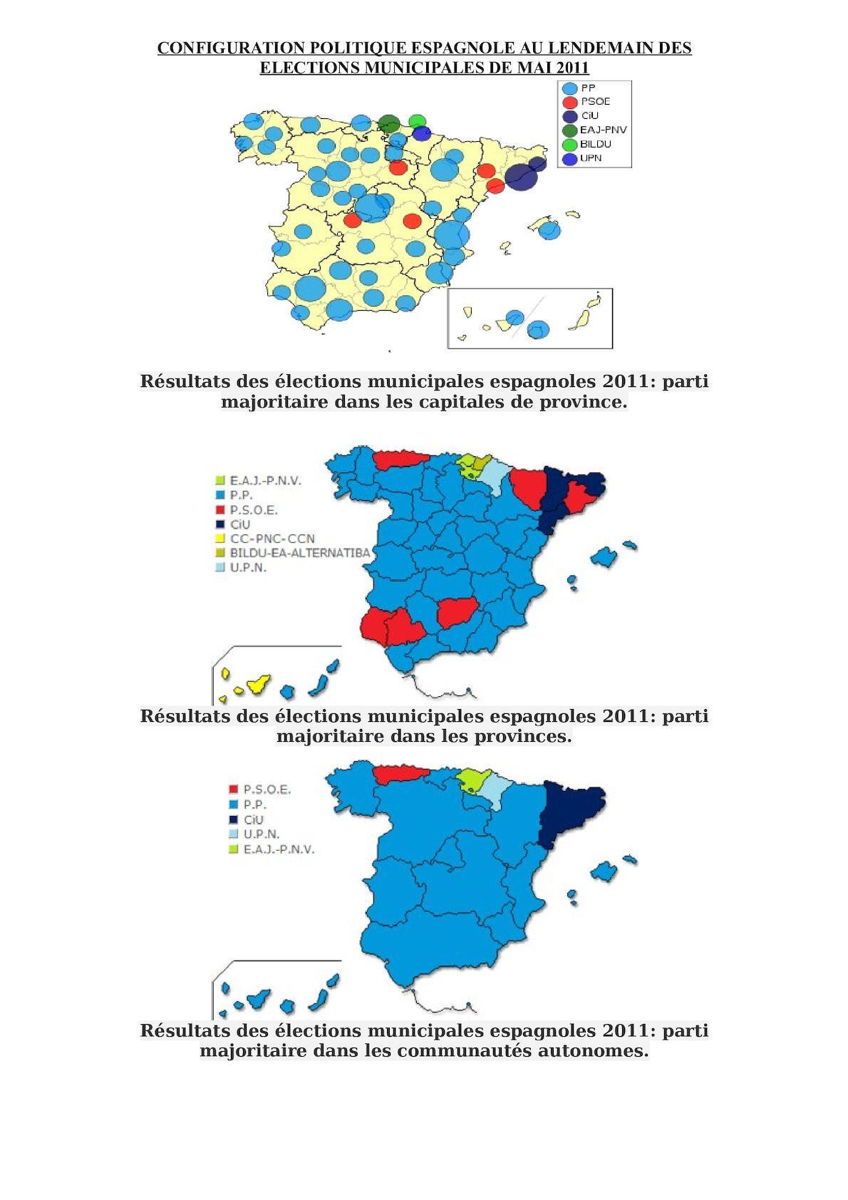 CARTES DES Résultats Des élections Municipales Espagnoles 2011