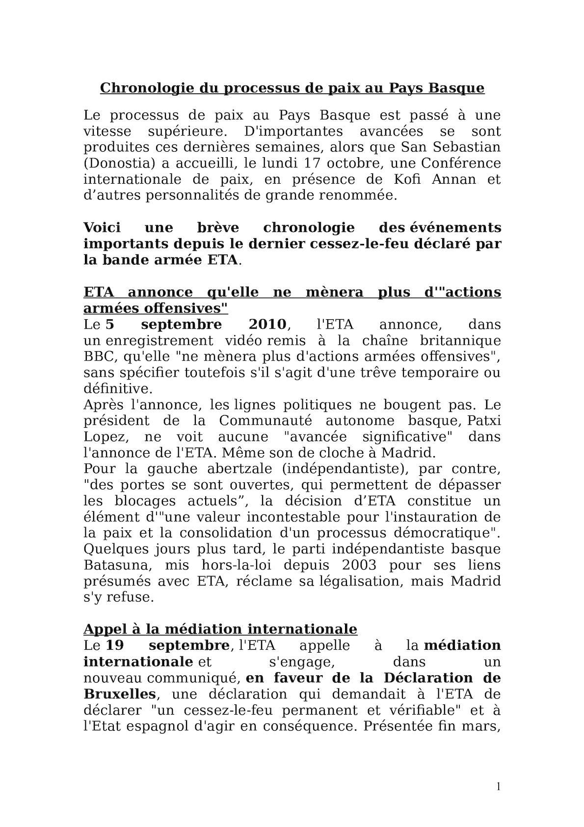 Chronologie Du Processus De Paix Au Pays Basque