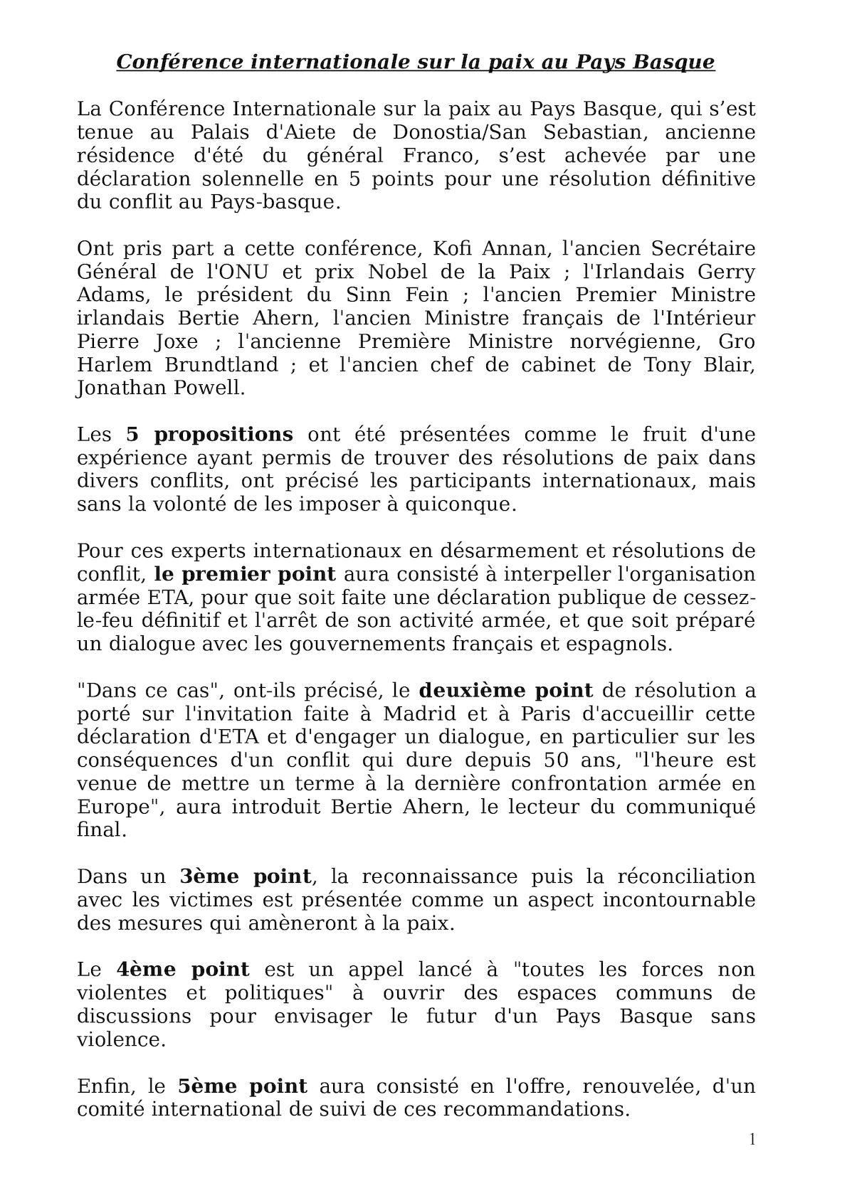 Conférence Internationale Sur La Paix Au Pays Basque