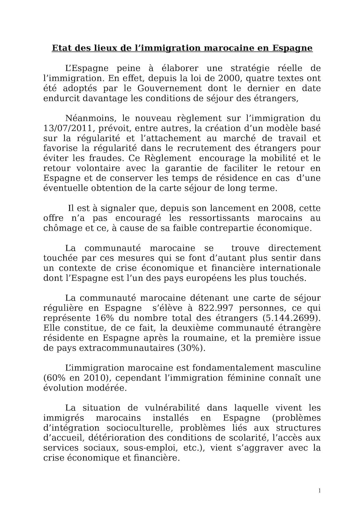 Note Sur L'etat Des Lieux De L'immigration Marocaine En Espagne