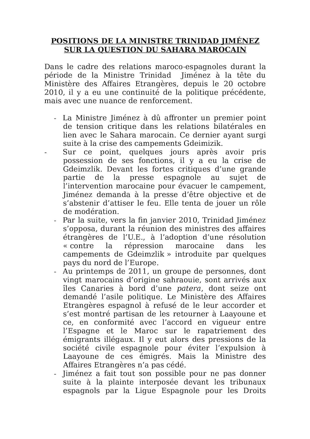 TRINIDAD JIMÉNEZ Et  QUESTION SAHARA