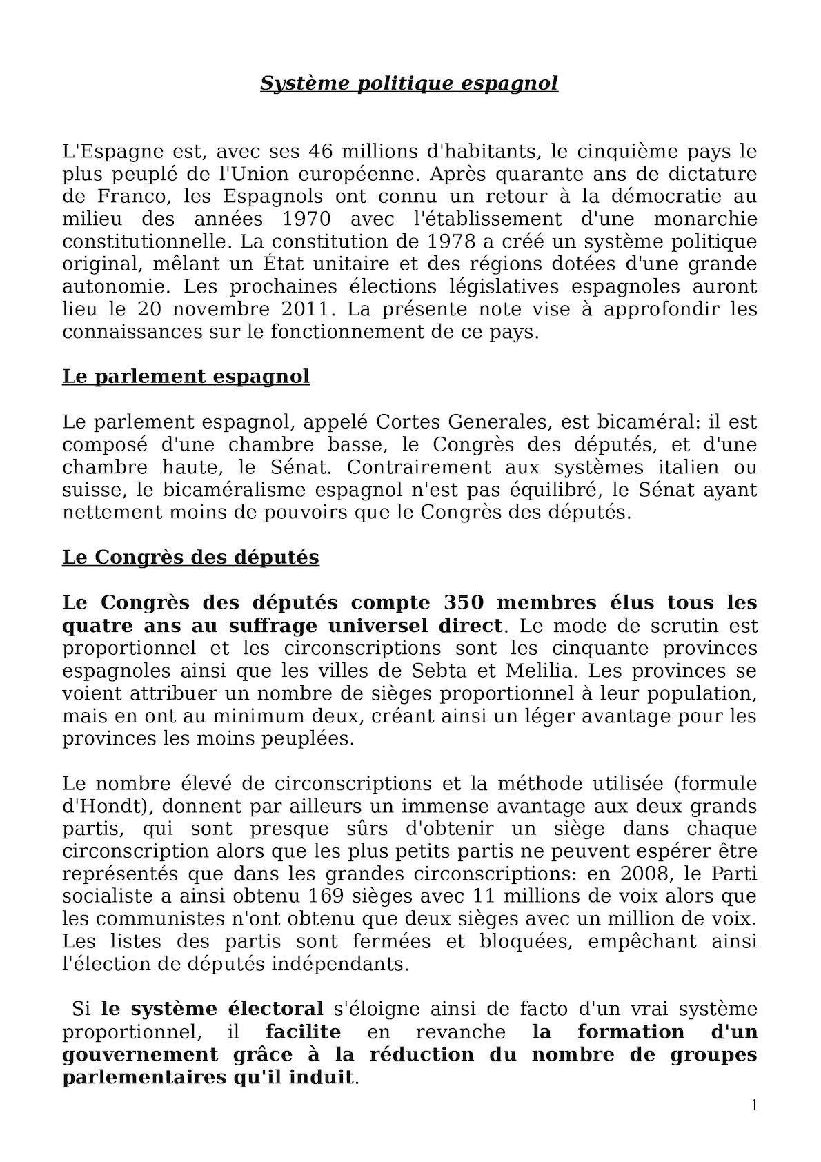 Note Sur Le Système Politique Espagnol