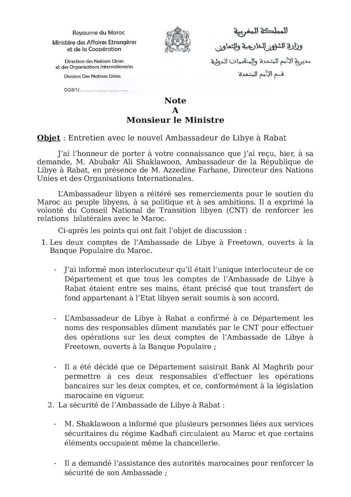 Entretiens Avec Amb Libye Rabat 12 Janvier 2012