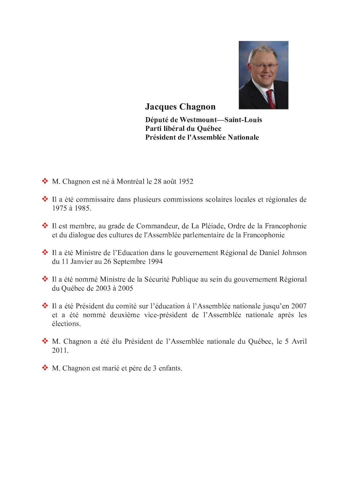 Jacques Chagnon CV