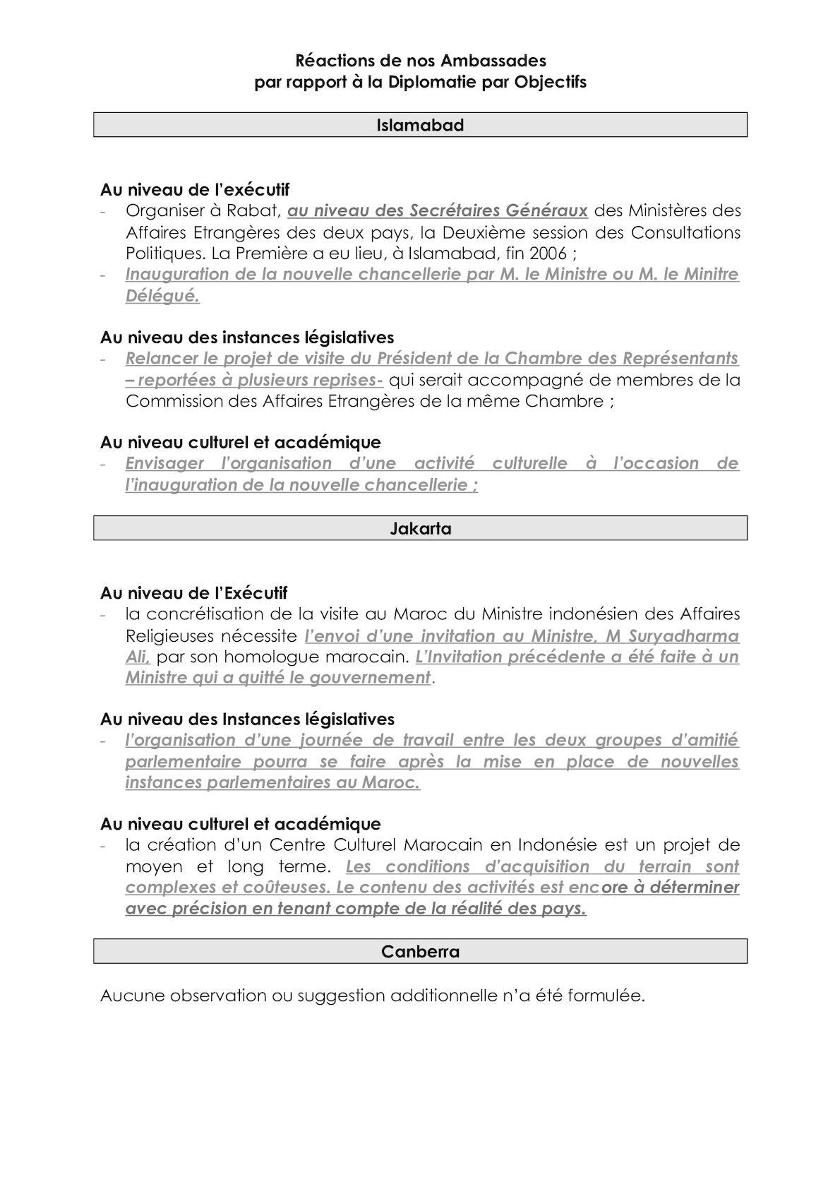 Réactions Ambassades DPO