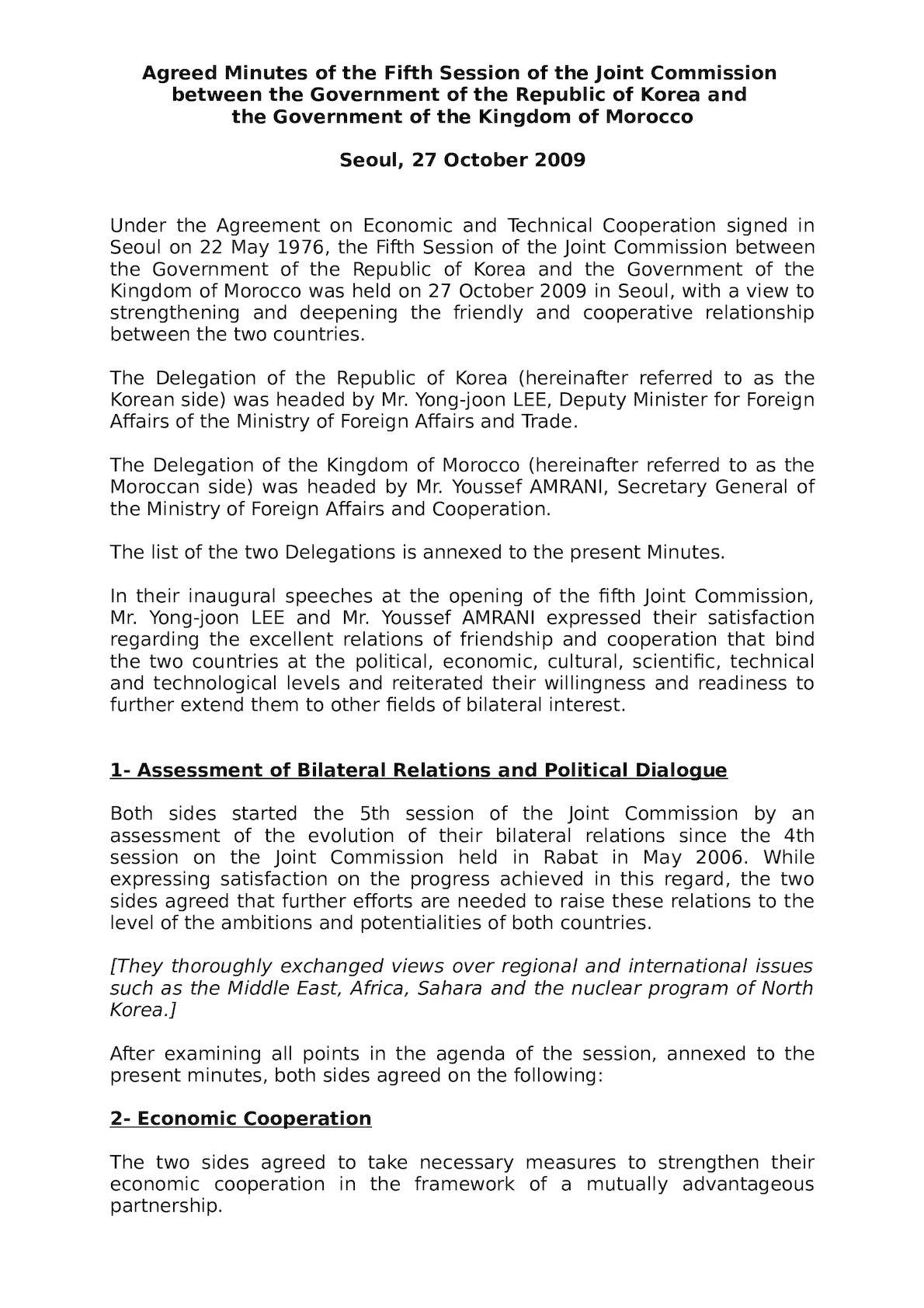 Agreed Minuites Revised By Korea Embassy