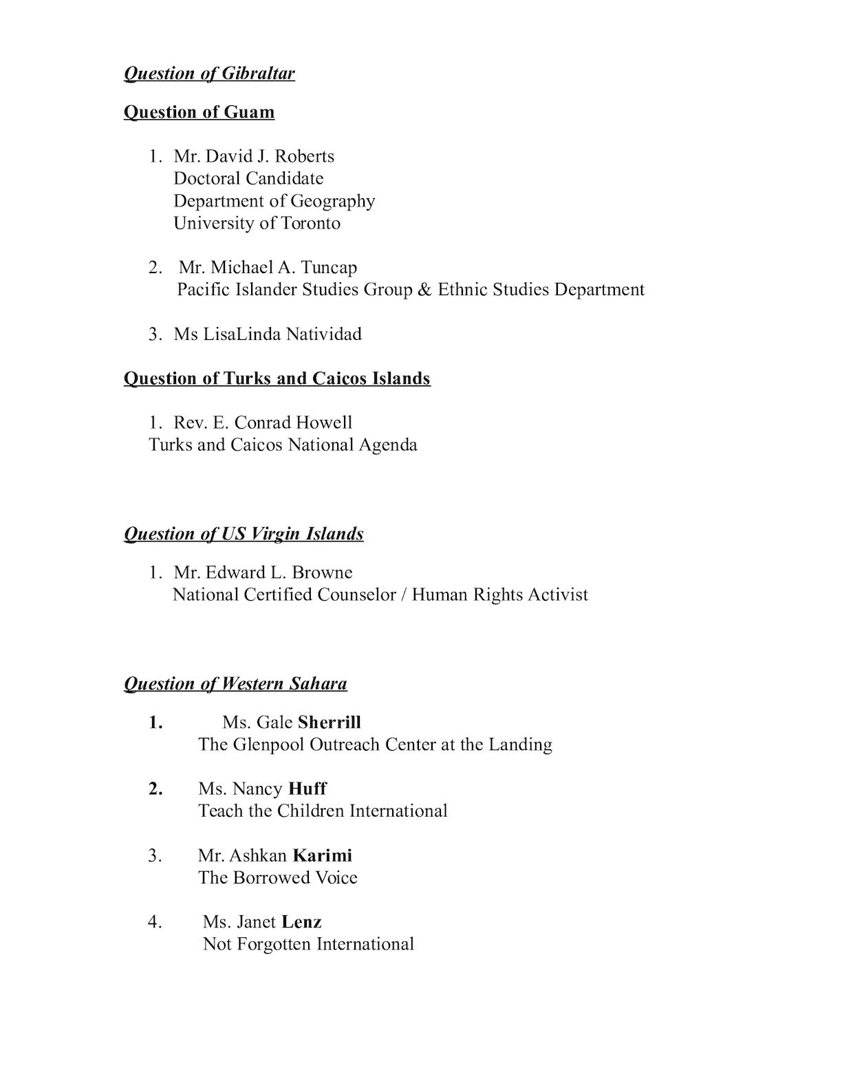 List Of Petitioners For Chair