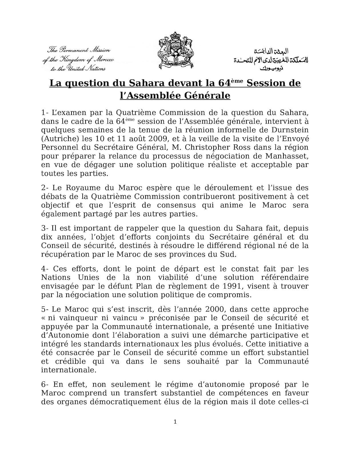 Copy Of Memo Sur Le Sahara 0ctobre 2009