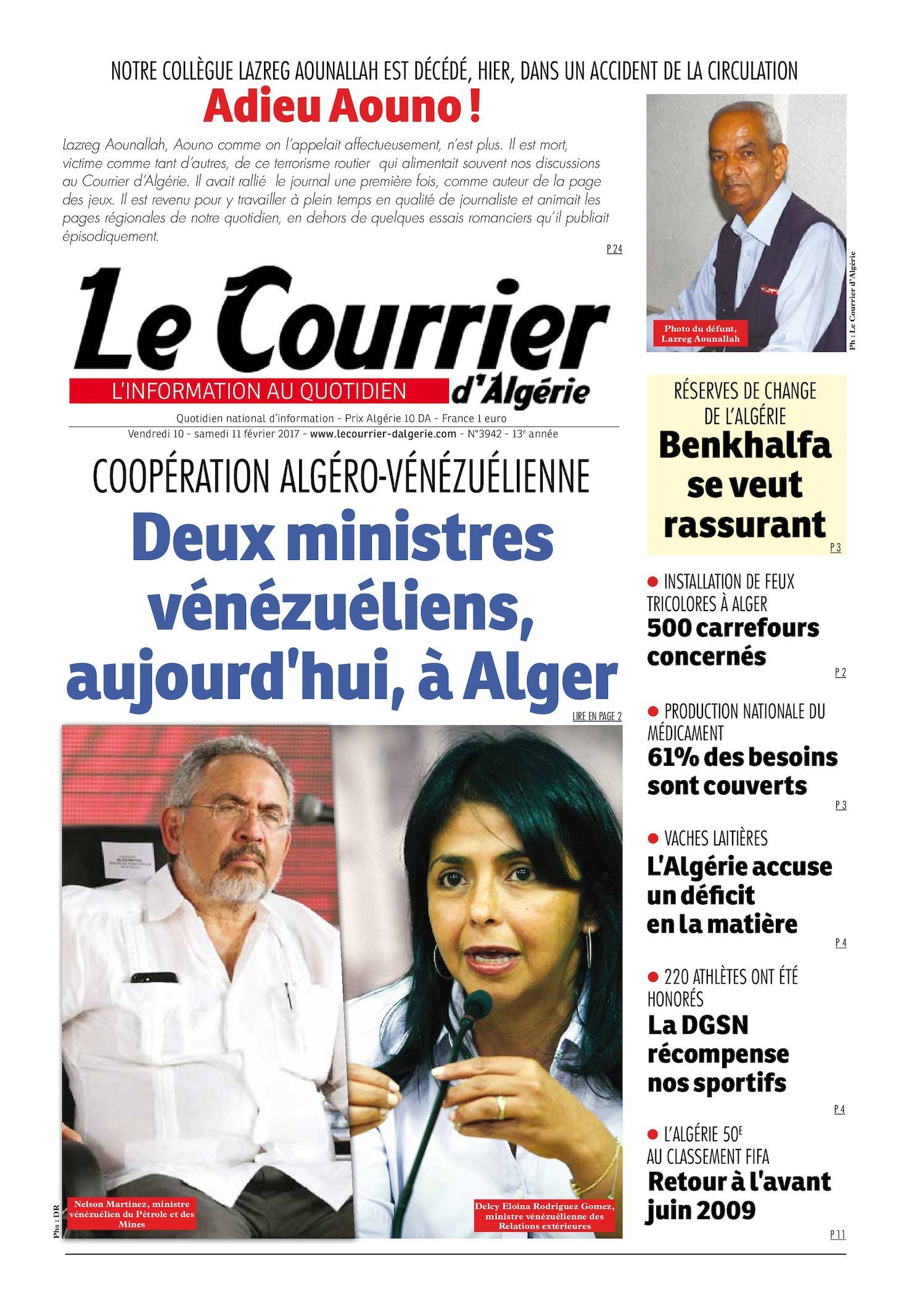 Le Courrier D'Algérie Du Samedi 11 Février 2017