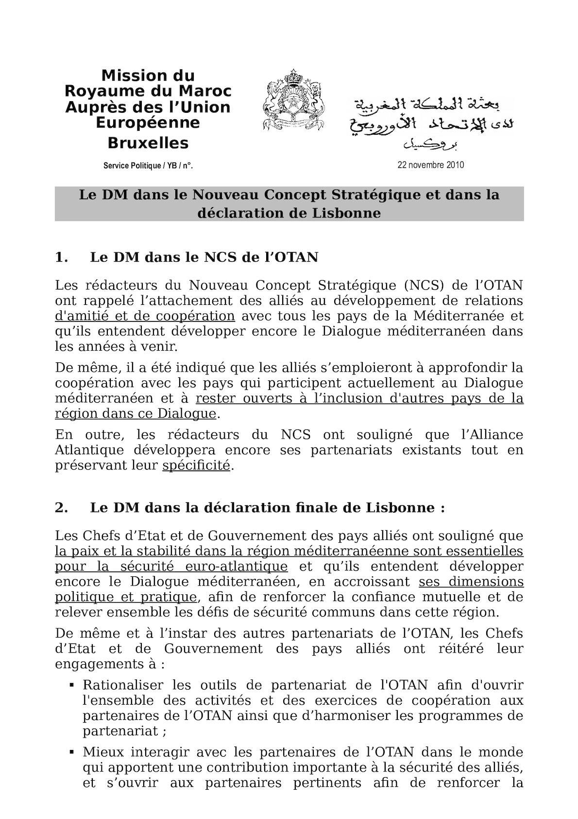 Le DM Dans Le NCS Et Dans La Déclaration De Lisbonne