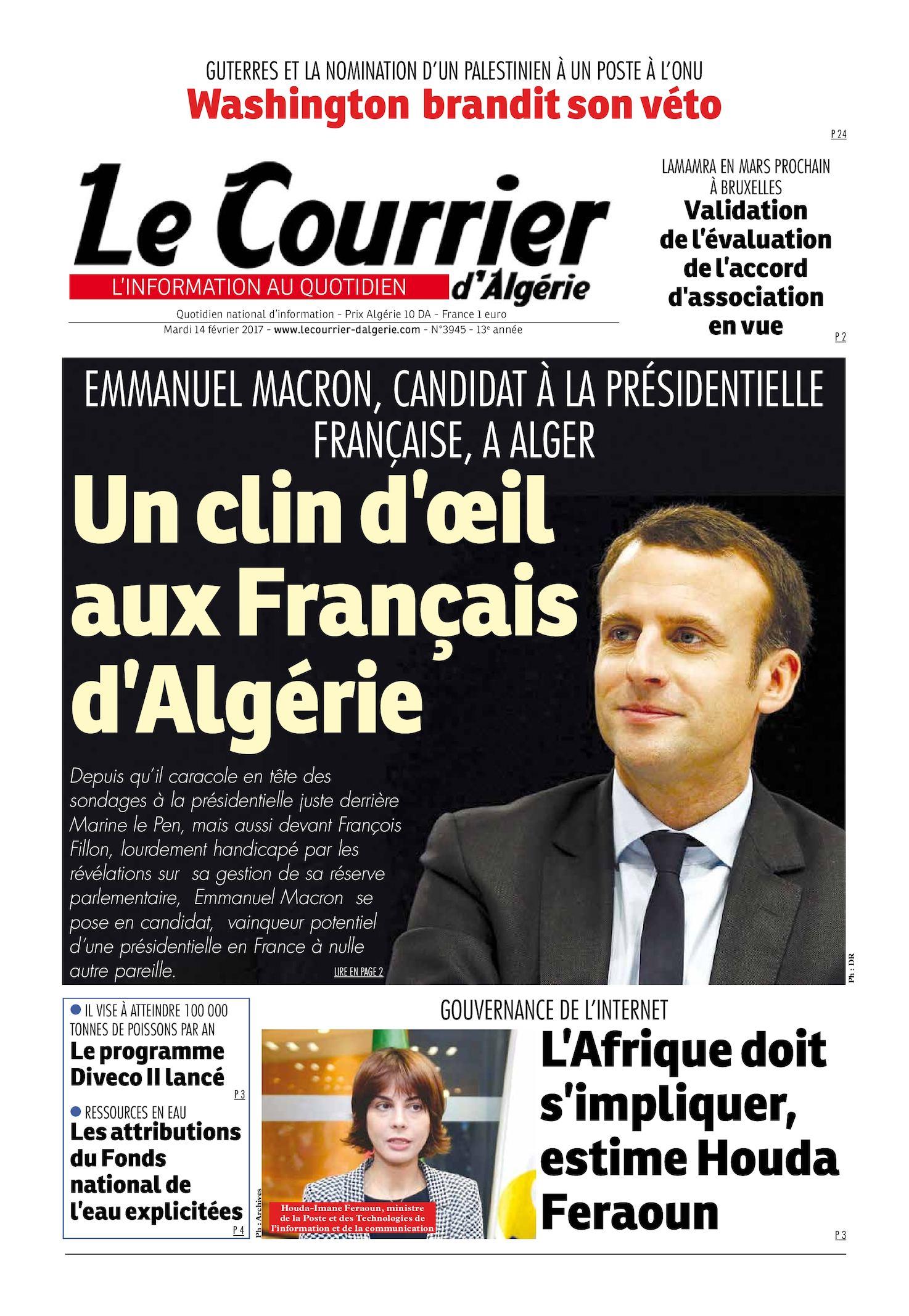 Le Courrier D'Algérie Du Mardi 14 Février 2017