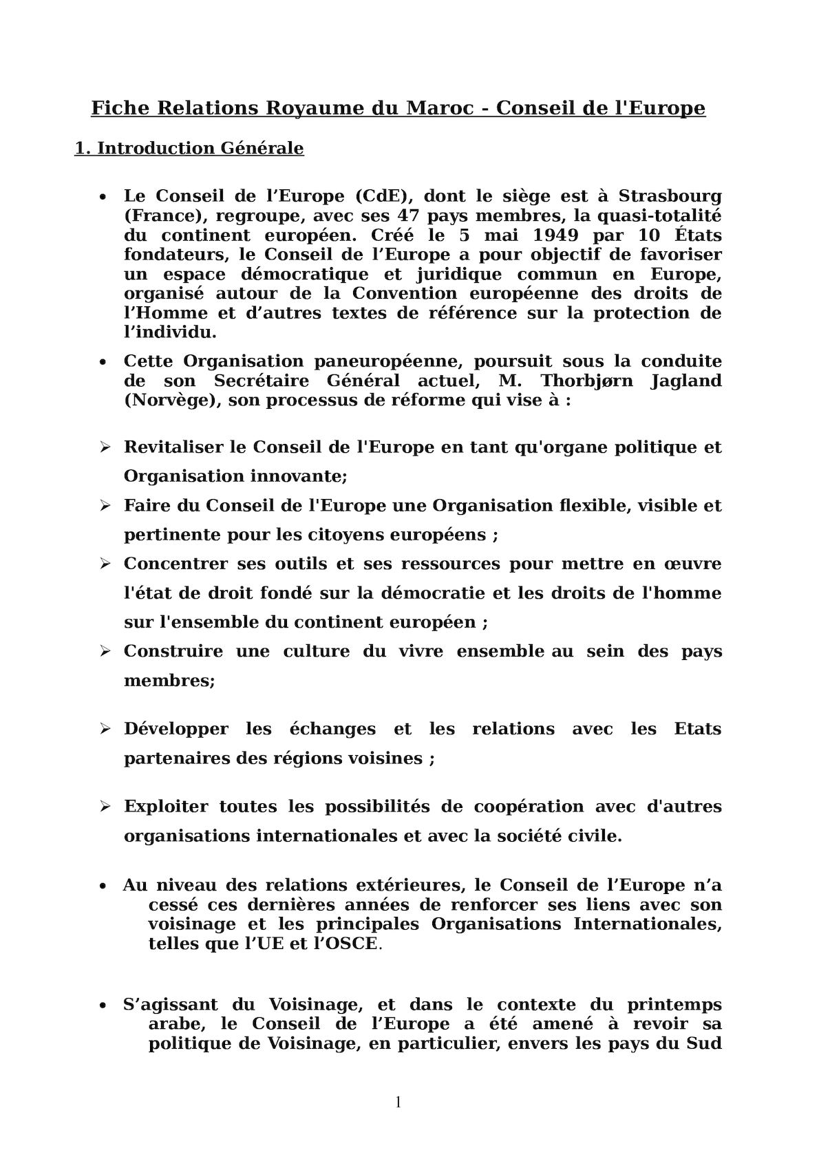 Fiche 1 Relations Maroc Conseil De L'europe