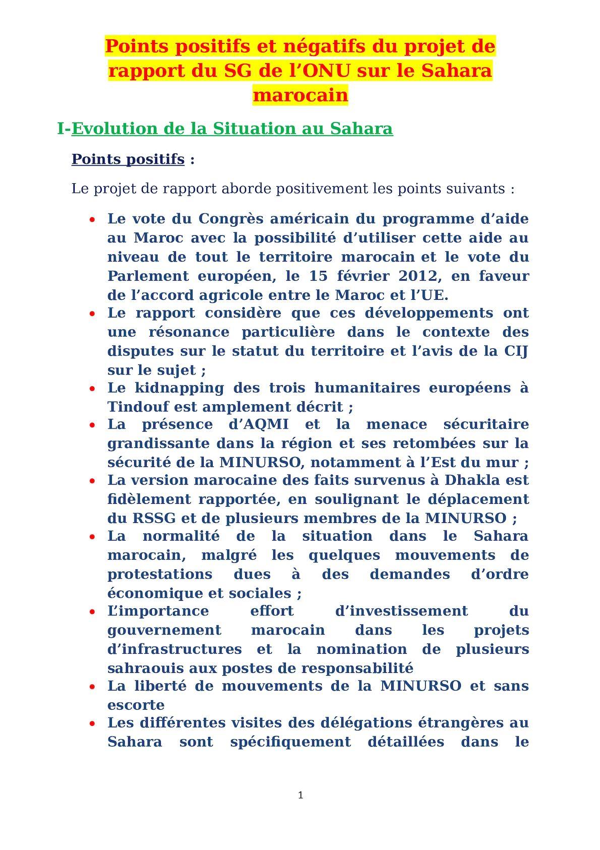 Points Positifs Et Négatids Du Rapport Sg 2012