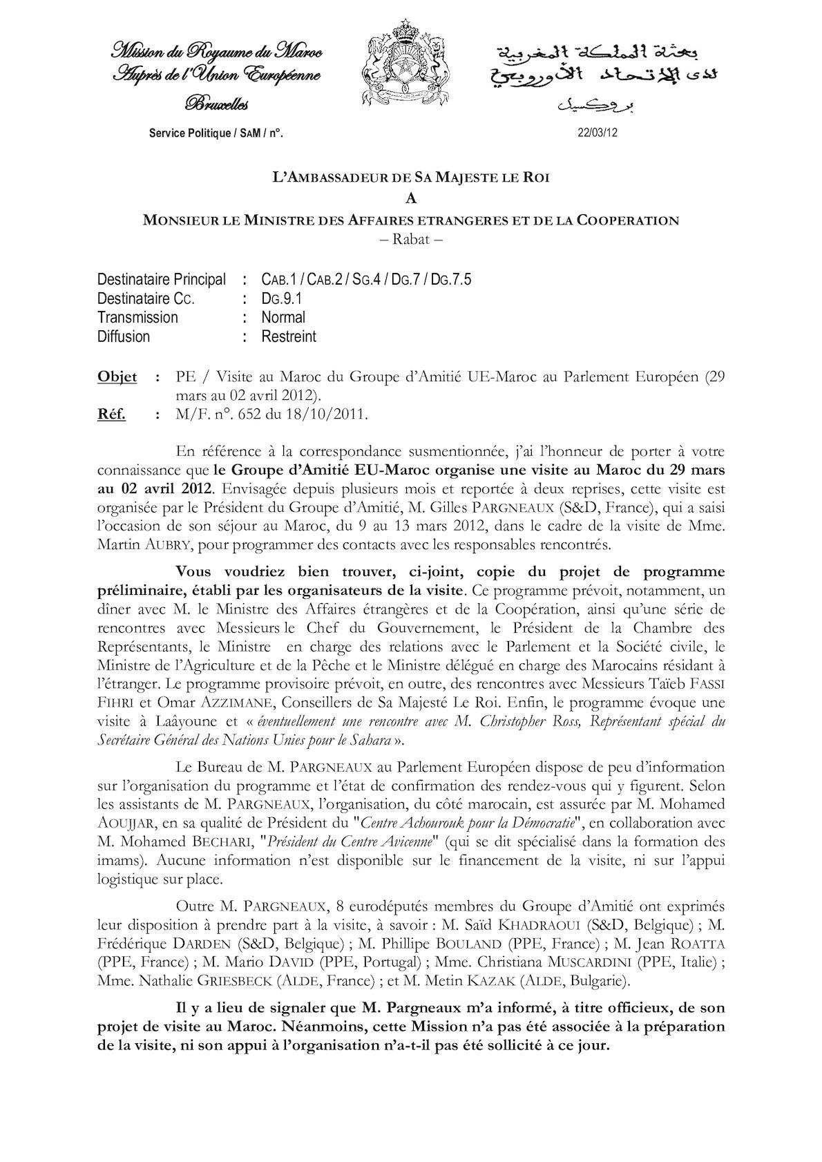 Visite Au Maroc Du Groupe D'amitié Ue Maroc Au Parlement Européen 29 Mars Au 02 Avril 2012