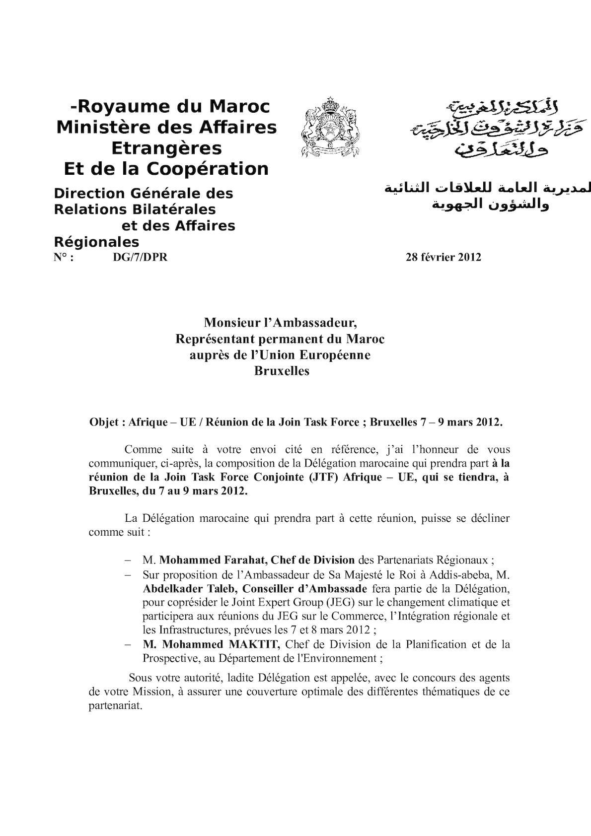Afrique UE JEGs 7 9 Mars 2012 Lettre Bruxelles