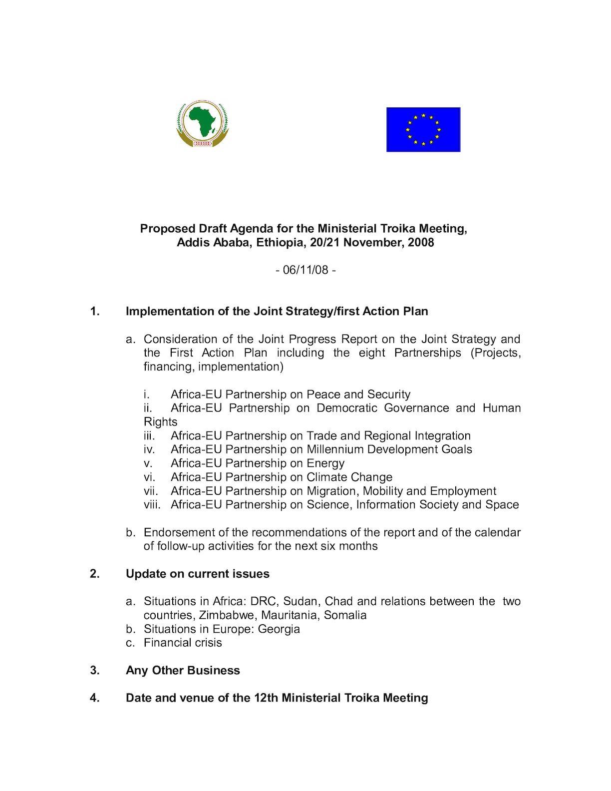 081105 Draft Agenda For Addis Ministerial Troika