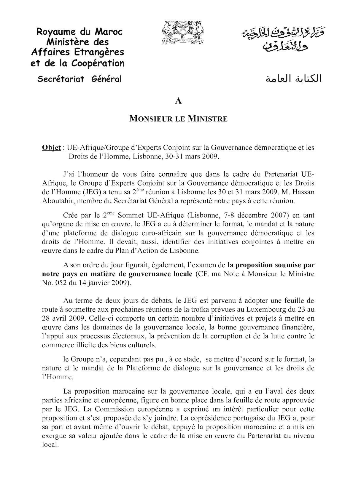 Note Ministre Gouvernance Lisbon