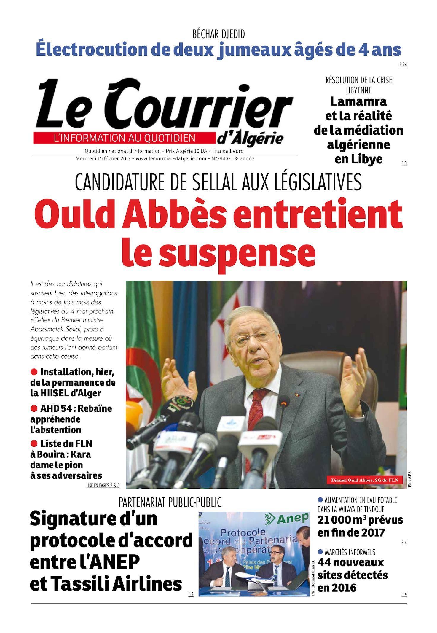 Le Courrier D'Algérie Du Mercredi 15 Février 2017