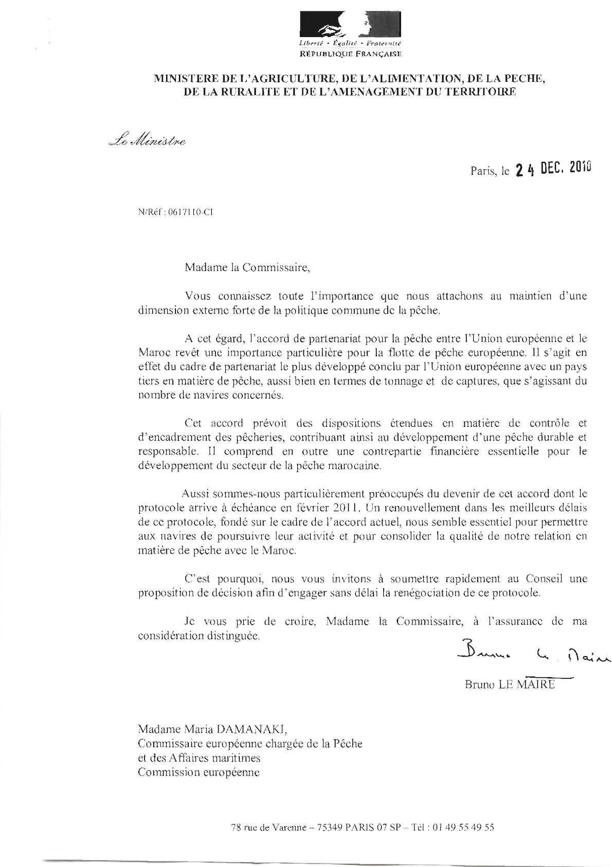 Lettre Ministre Commissaire App Maroc 24 12 10