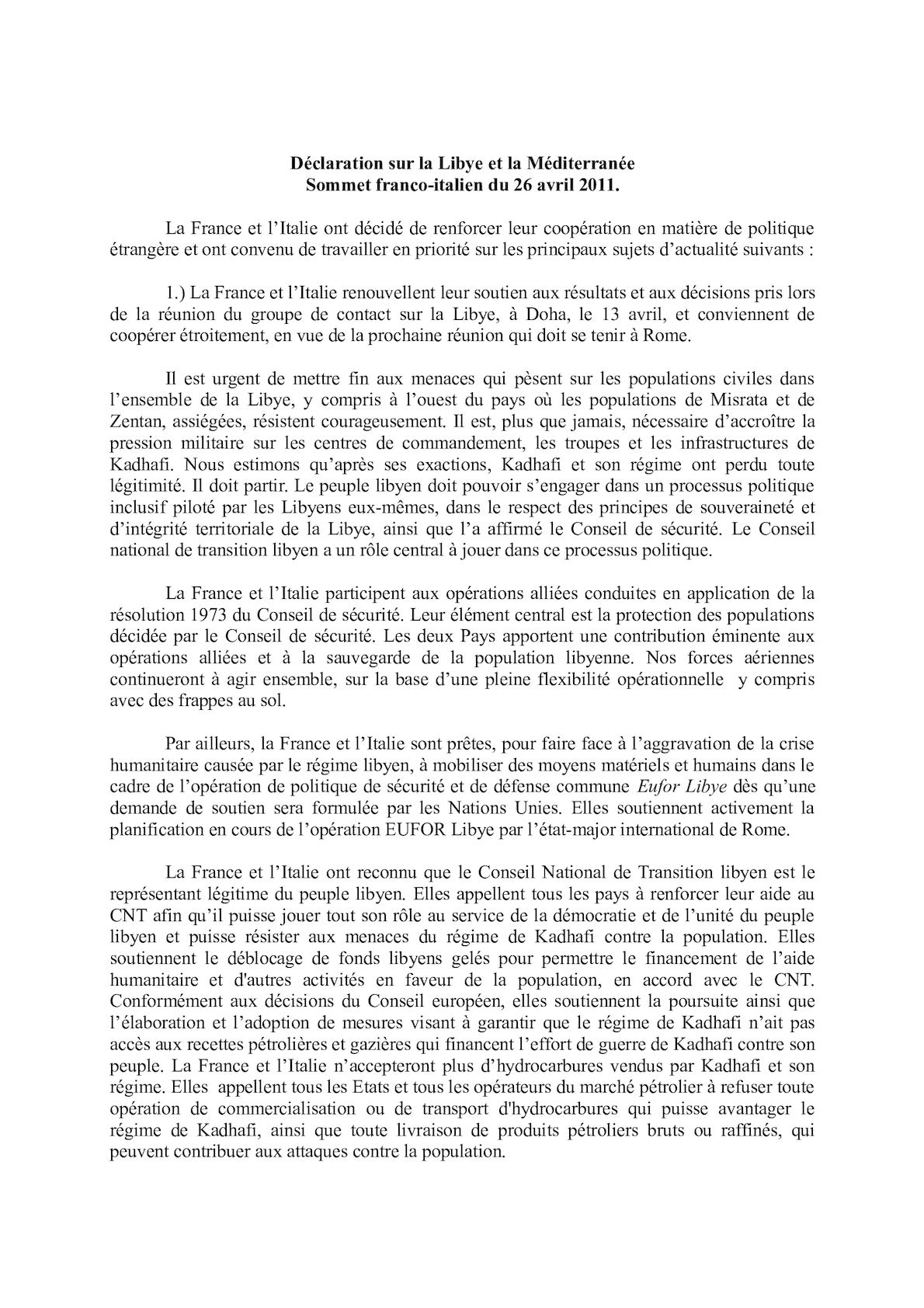 Déclaration Libye Méditerranée