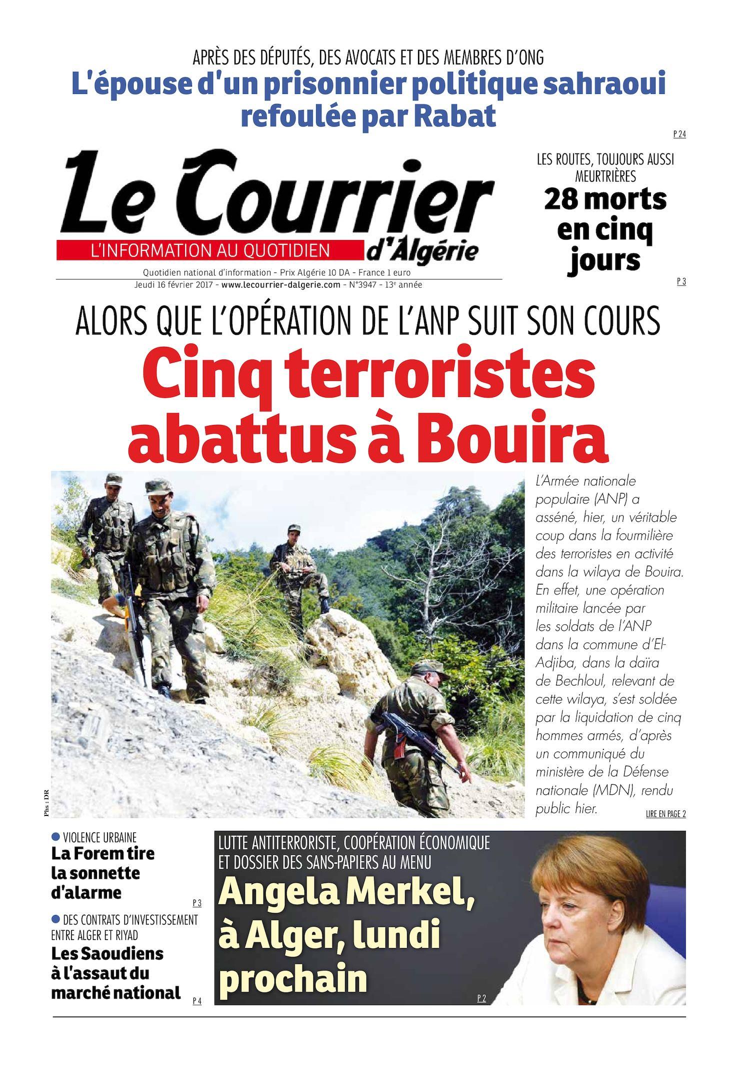 Le Courrier D'Algérie Du Jeudi 16 Février 2017