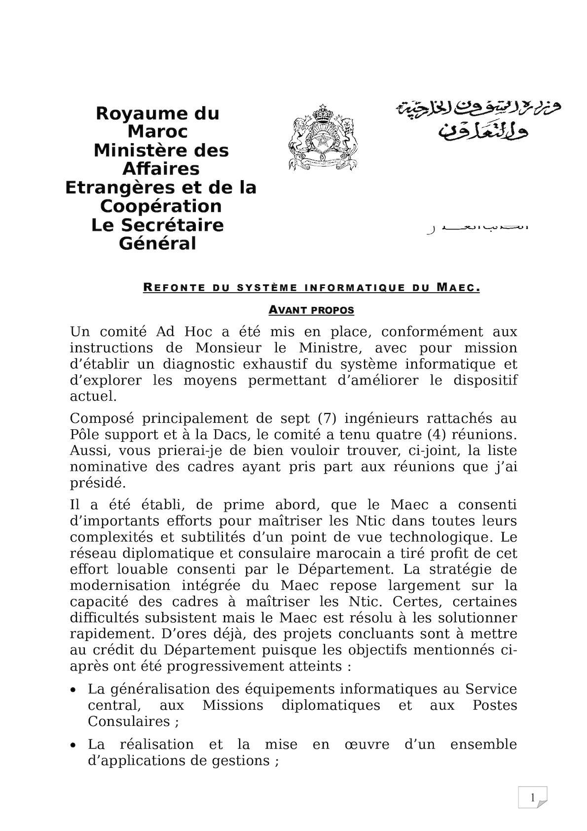 Refonte Du Dsi Maec Note25 10 2010 Finale