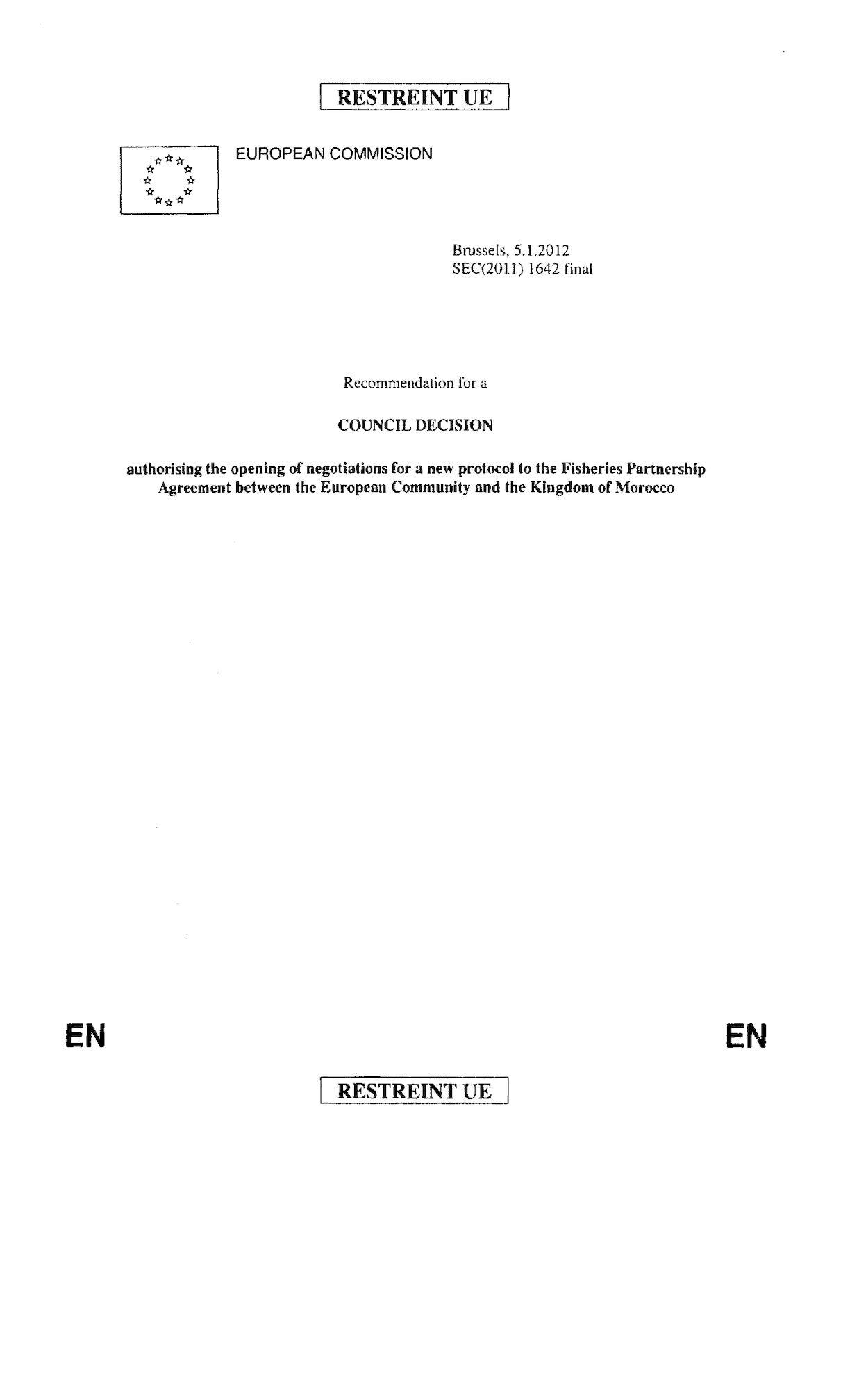 Projet Directive Négociation Protocole 5 Janvier 2012