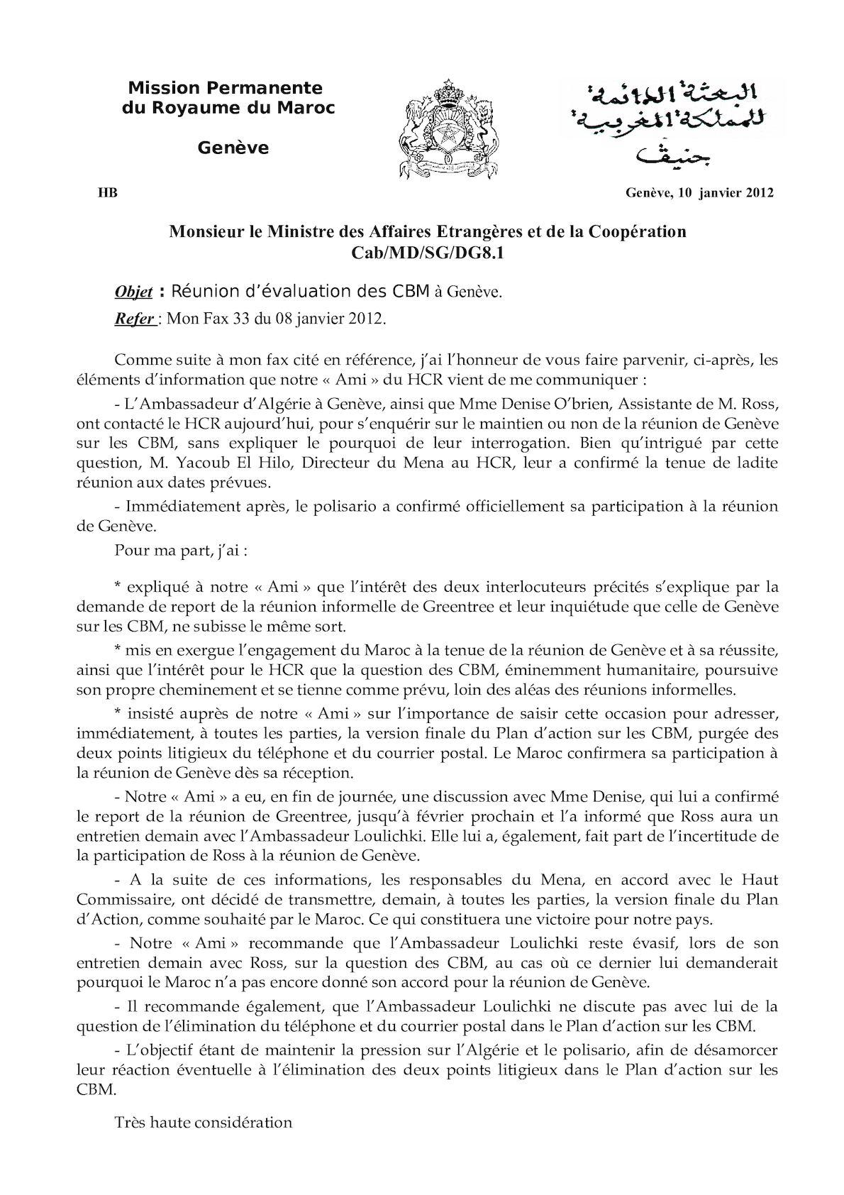 Fax 10 Janvier 2012 Réunion D'éval Des Cbm