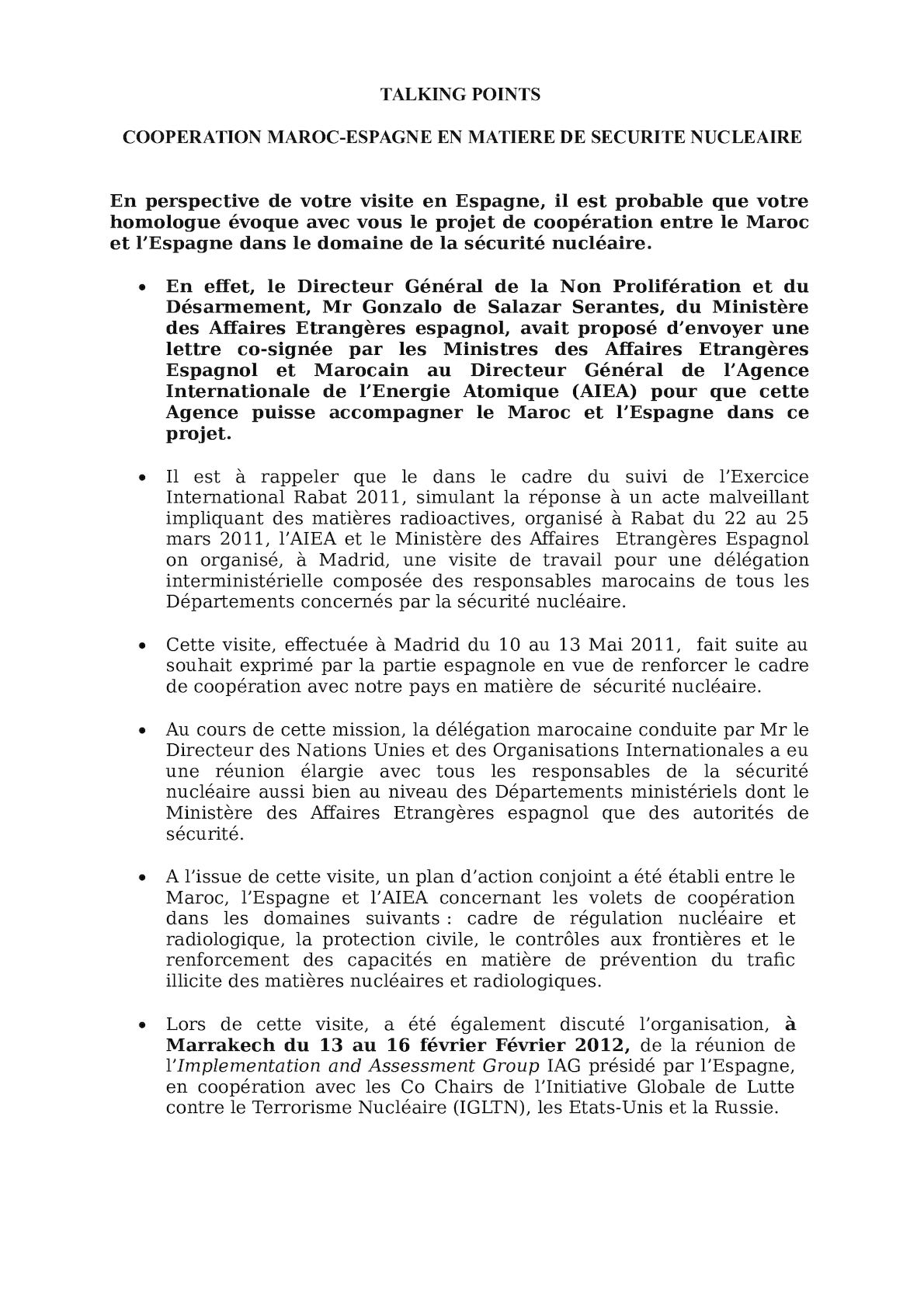Talking Points Ministre Délégué Visite Espagne