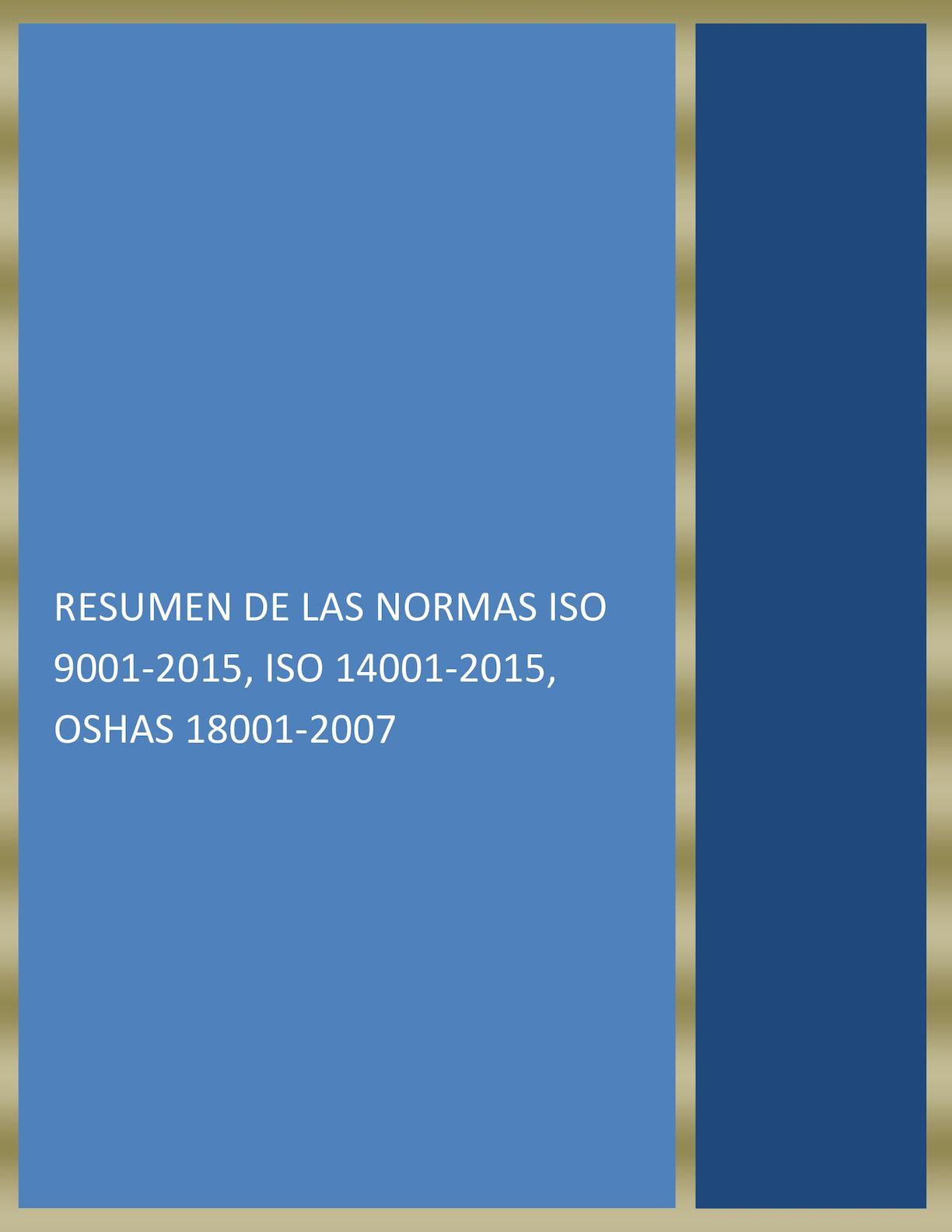 Resumen De La Norma Iso 9001 Del 2015