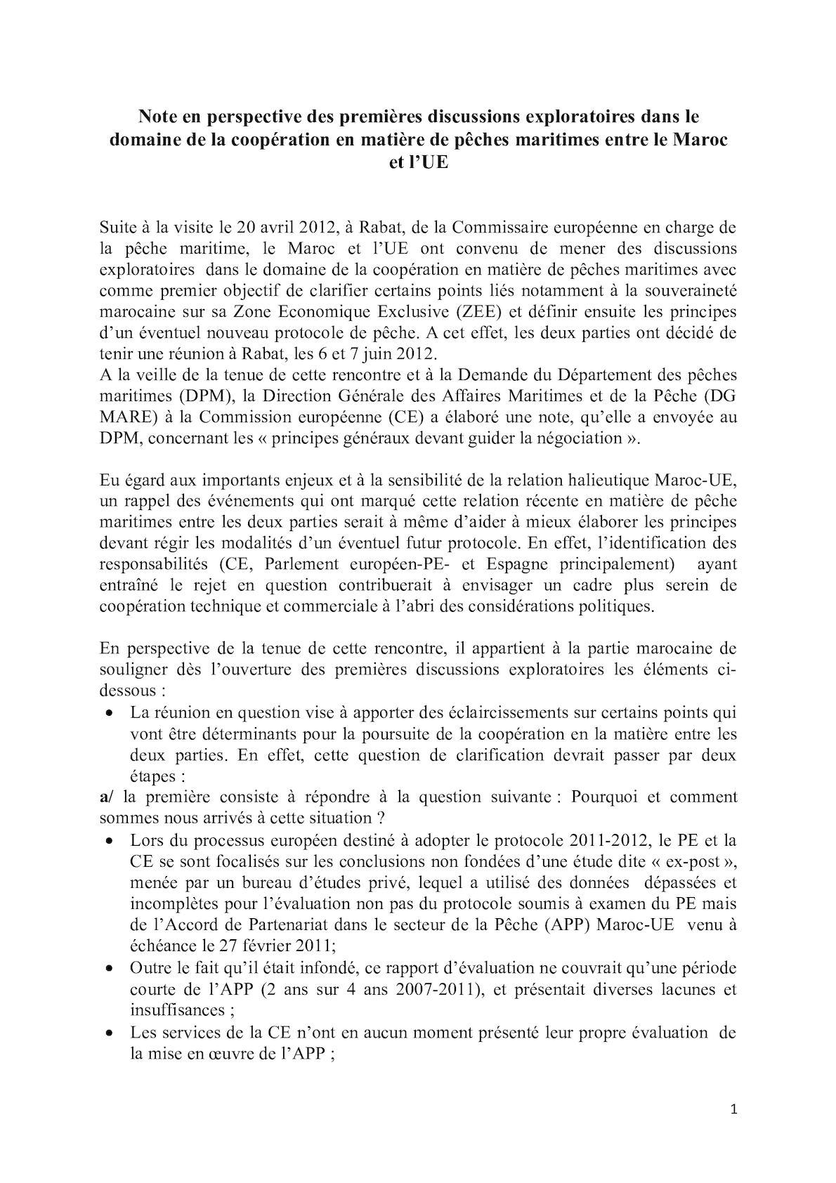 Note Portant Sur Les Perspectives Des Premières Discussions Exploratoires Coopération Pêches Maritimes Maroc Ue 04 Juin 2012