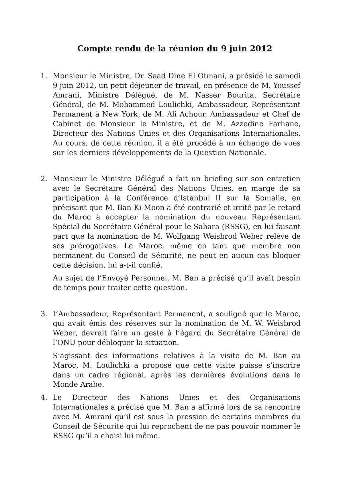 Compte Rendu De La Réunion Du 9 Juin 2012