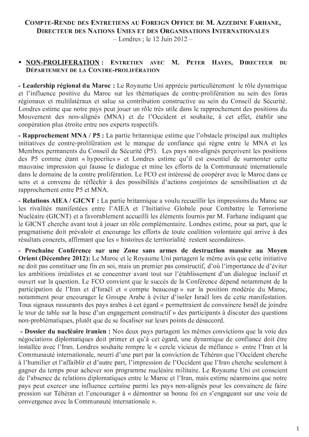Compte Rendu Consultations FCO - Mr Farhane - 12 Juin 2012