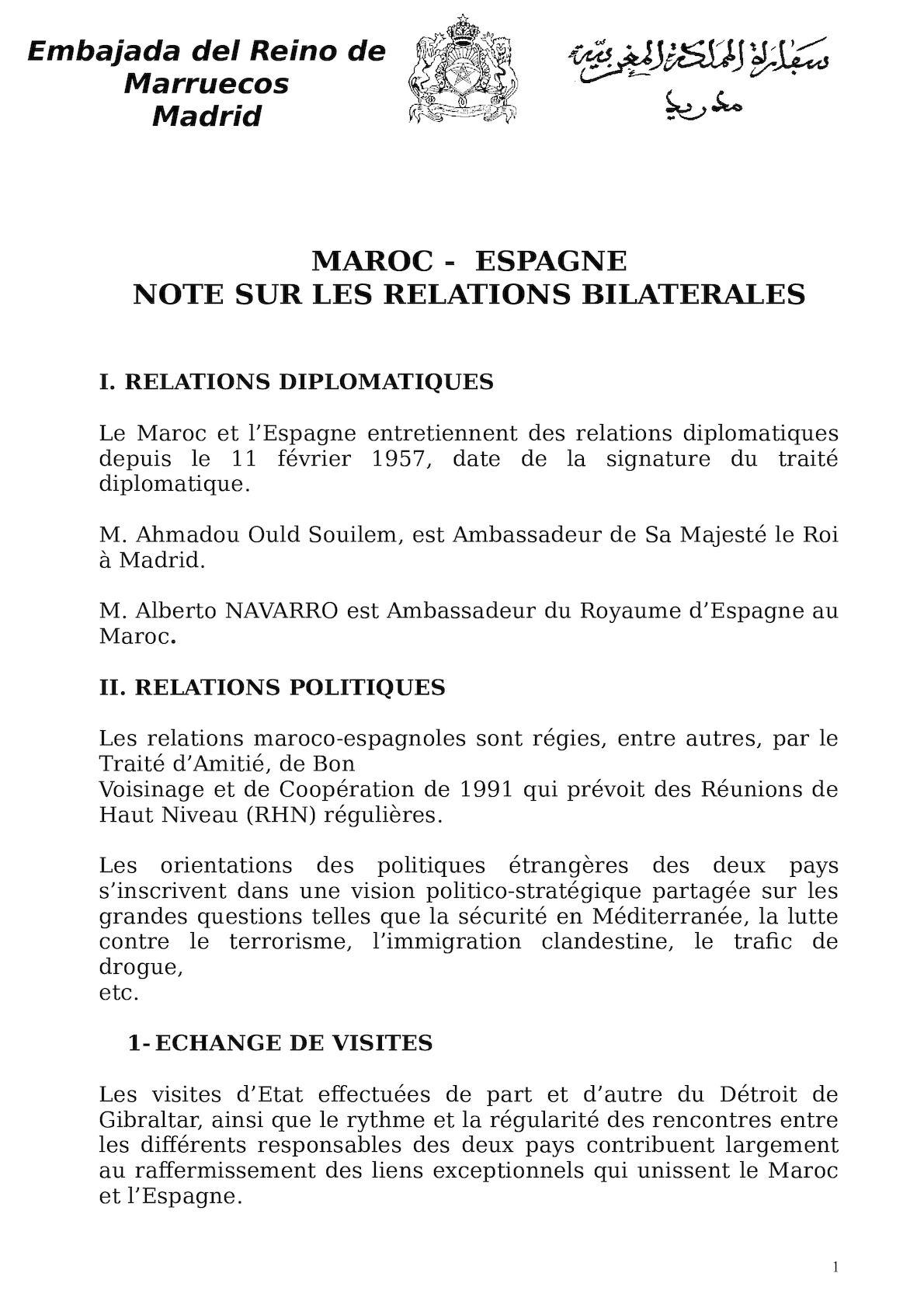 Note Sur Les Relations Bilatérales  Sept 2012
