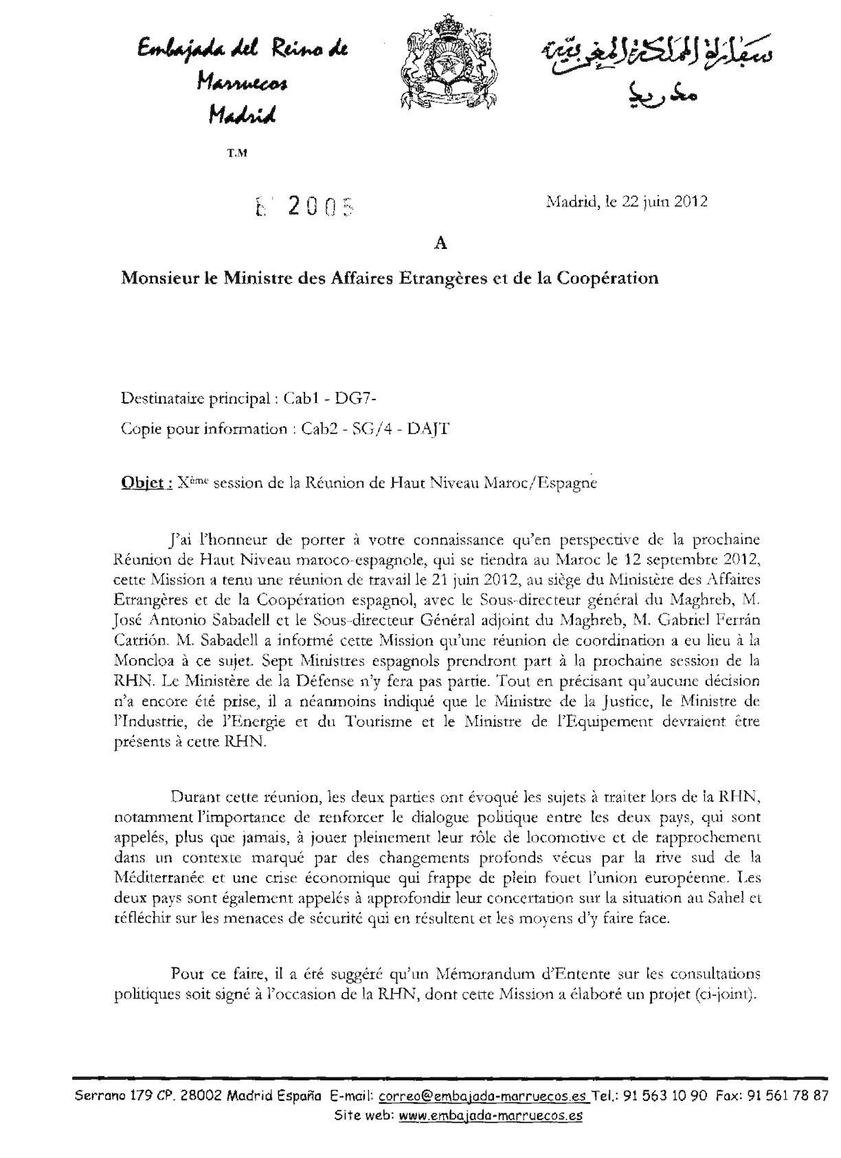 X°session Réunion Haut Niveau Maroc Espagne