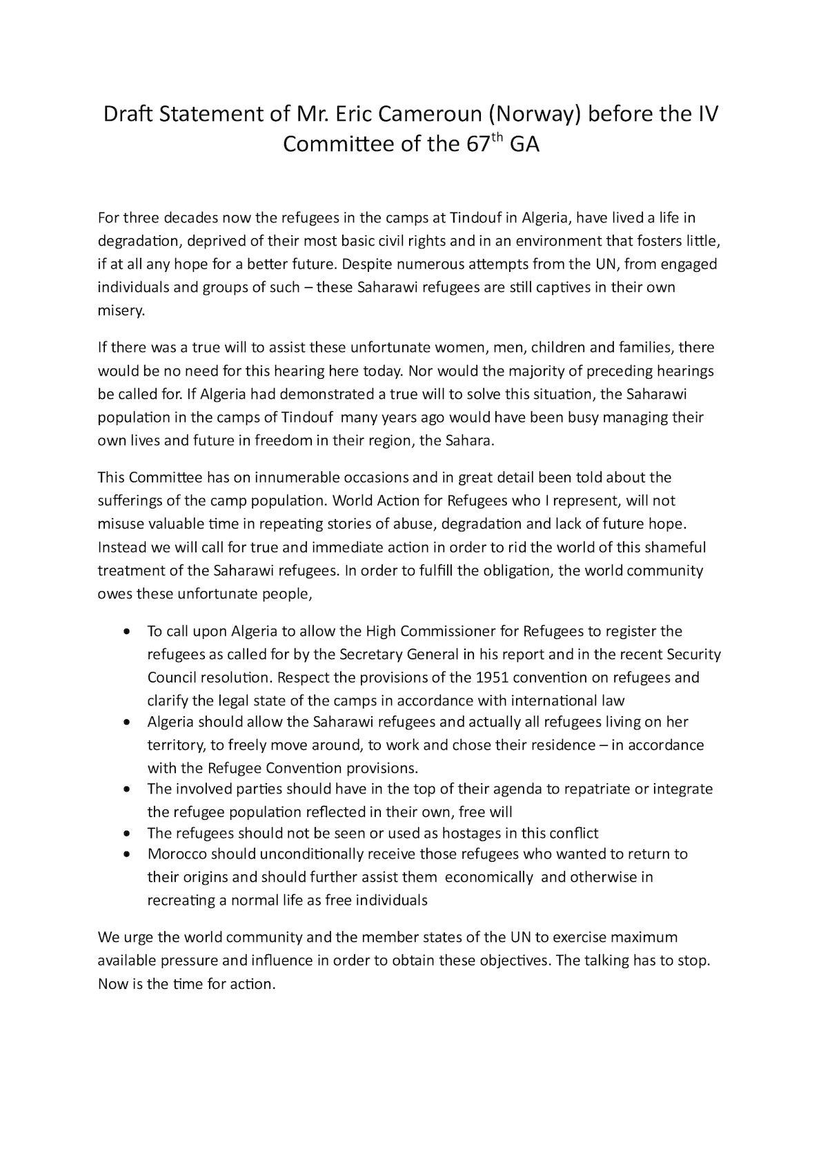 Statement Eric Cameroun Norway