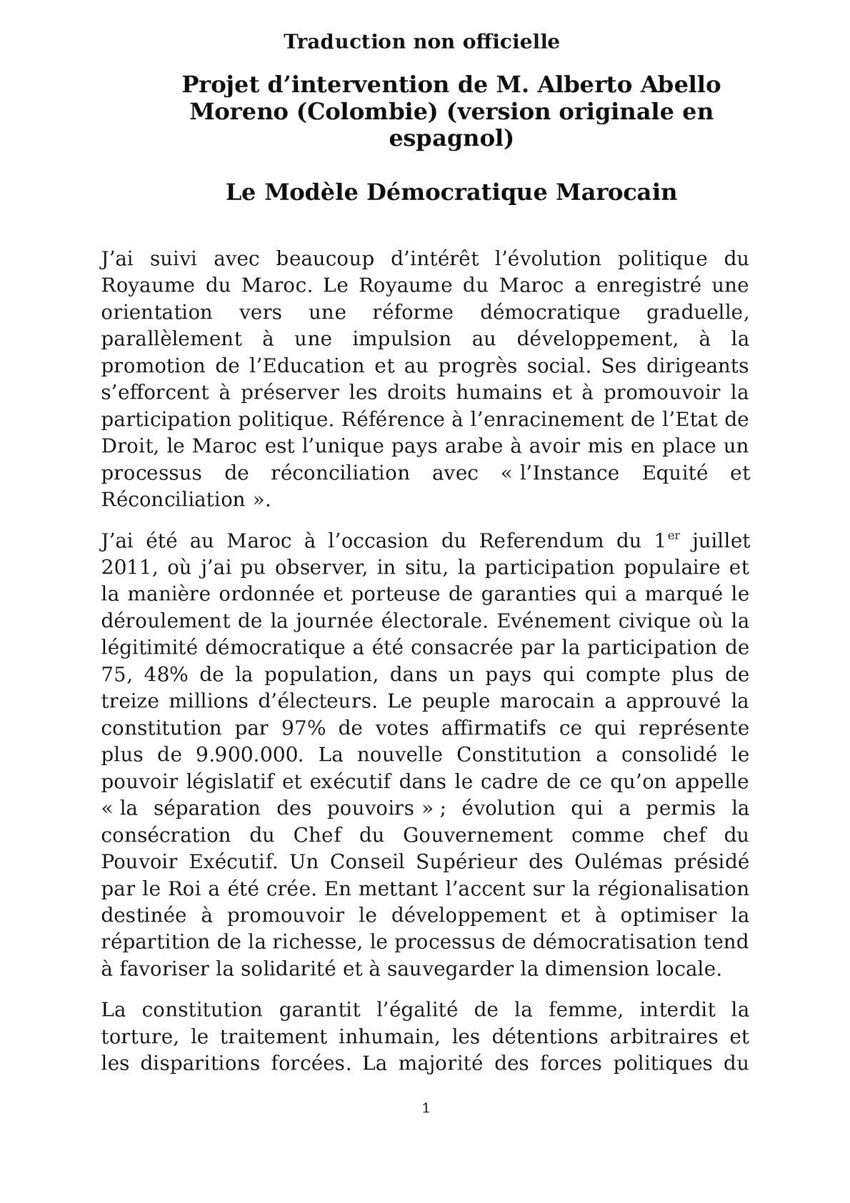 Interven Petitionnaire Colombien Ver Révisée Par MAEC