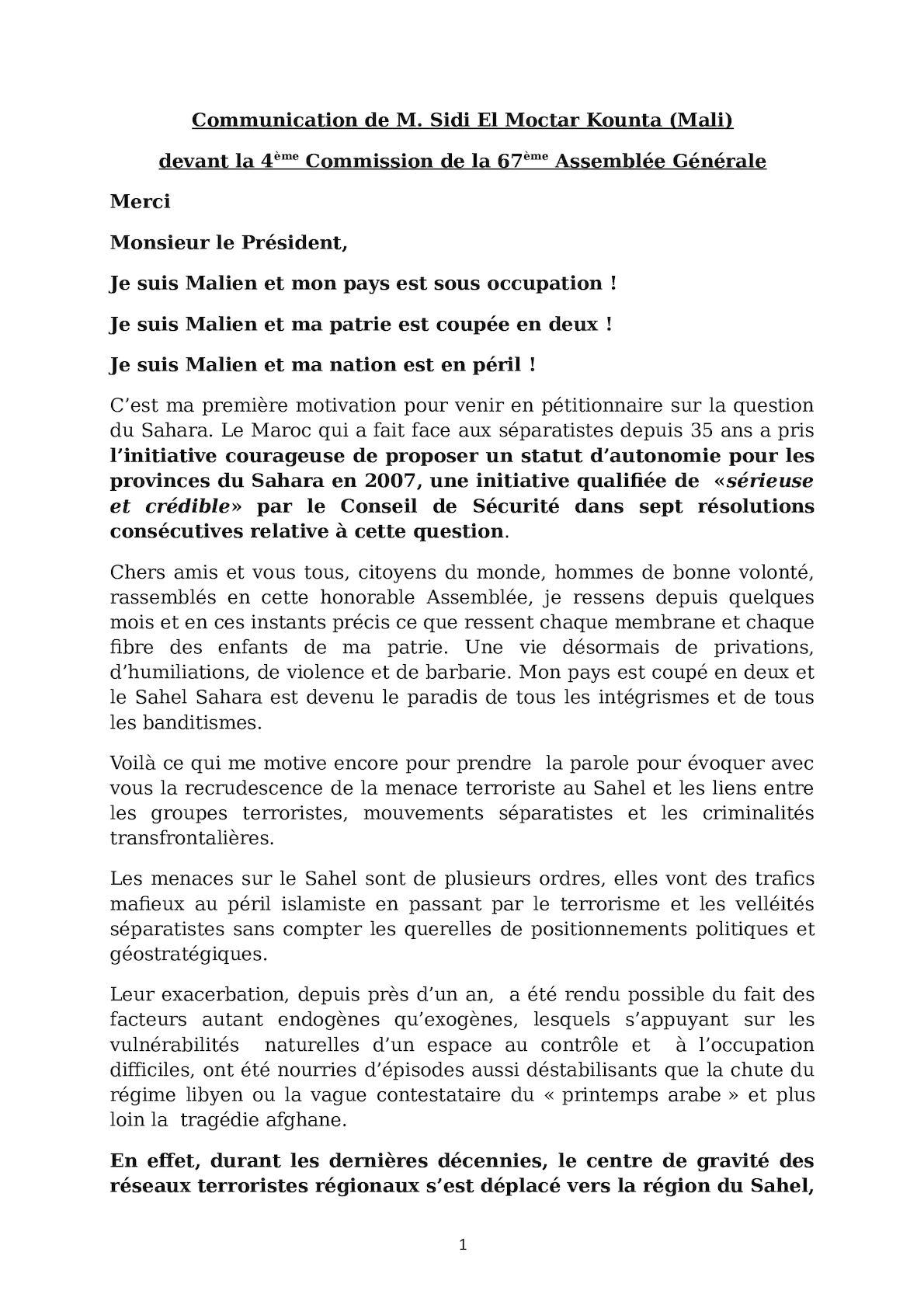 Intervention Pétitionnaire Malien