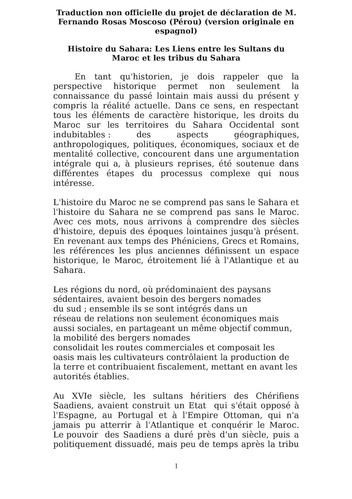 Projet De Déclaration Pétitionnaire Du Pérou Version Amendée Par MAEC